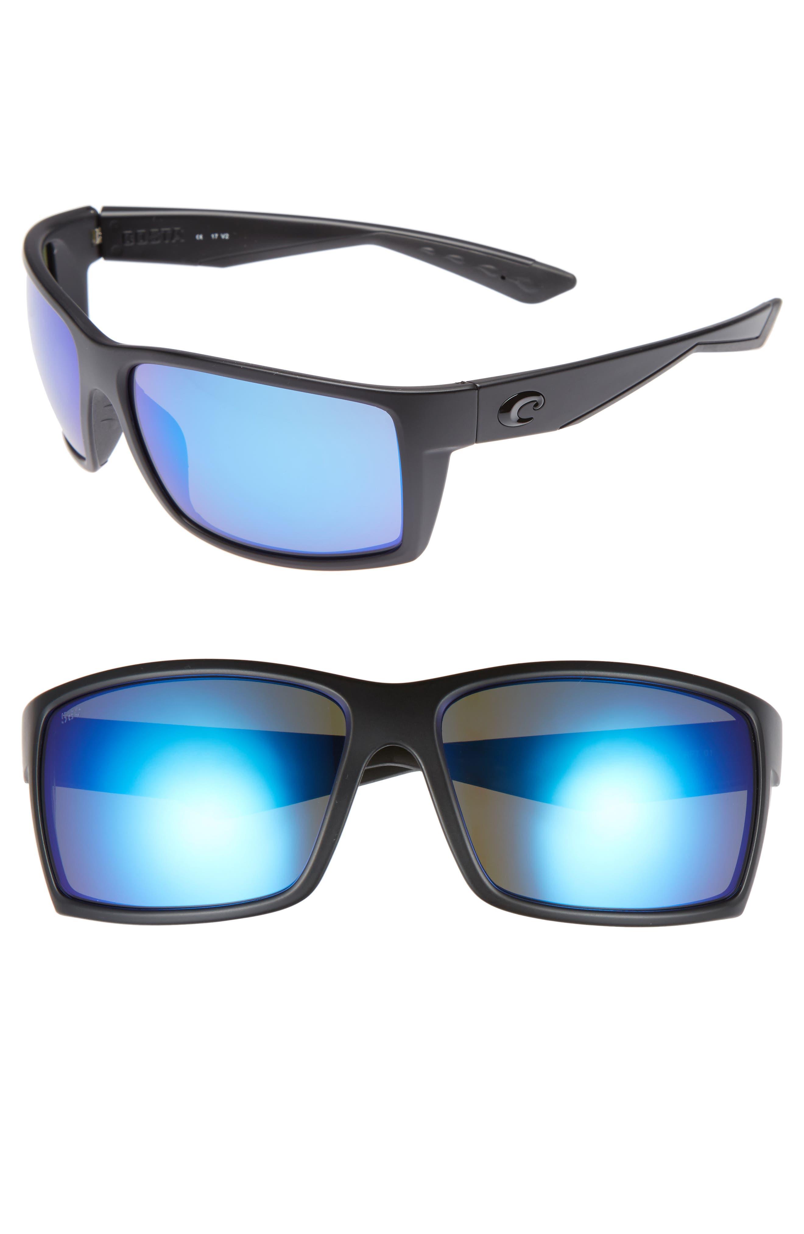Reefton 65mm Polarized Sunglasses,                             Main thumbnail 1, color,                             Blackout/ Blue Mirror