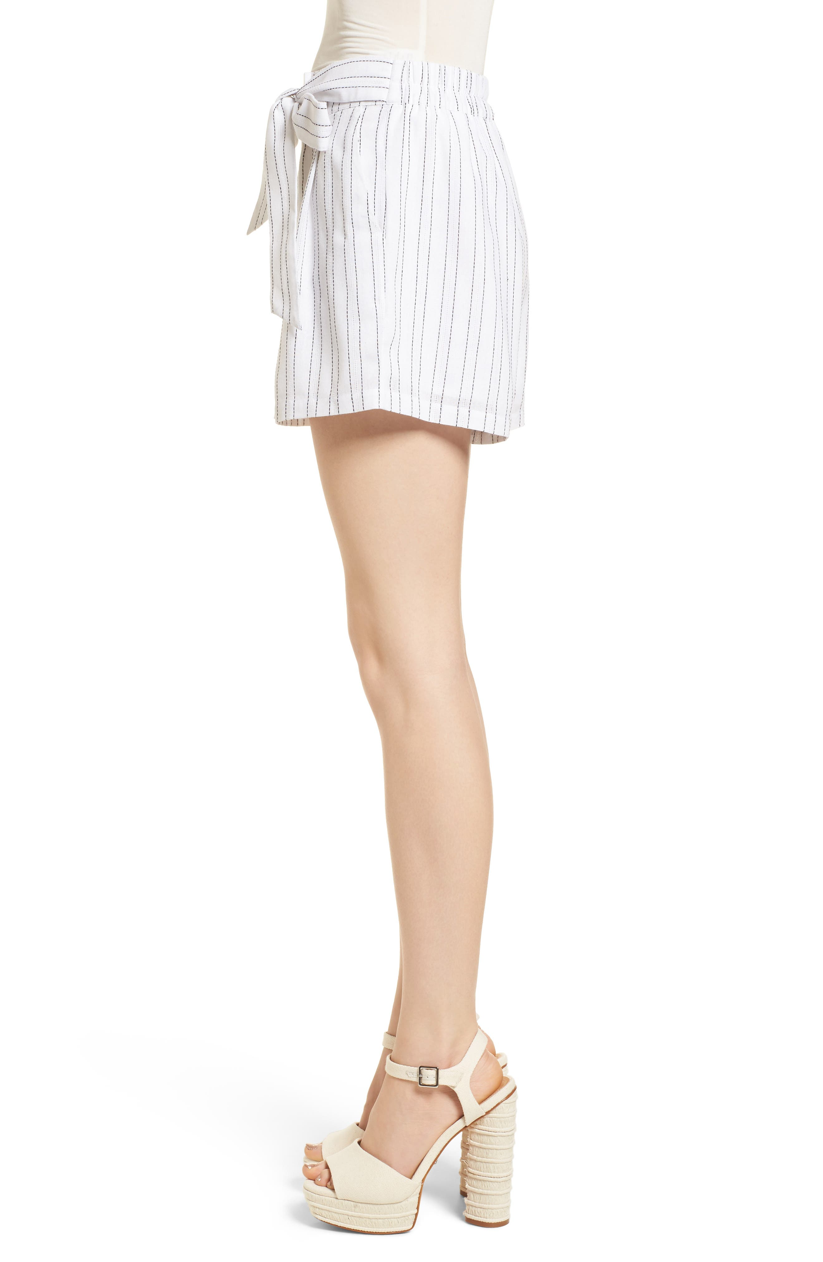 Tie Front Shorts,                             Alternate thumbnail 4, color,                             White/ Black