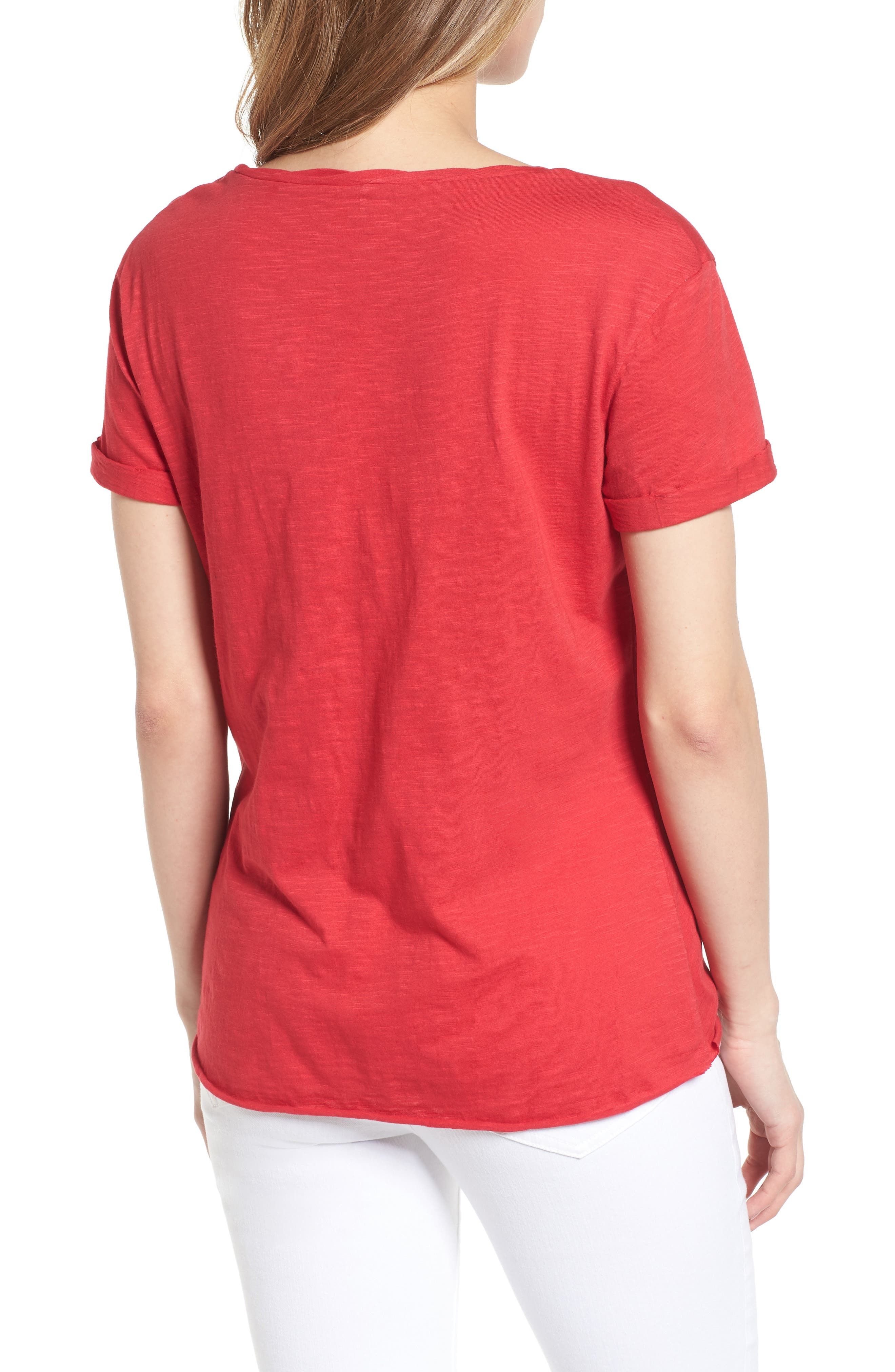 Knotted Tee,                             Alternate thumbnail 2, color,                             Red Jalapeno