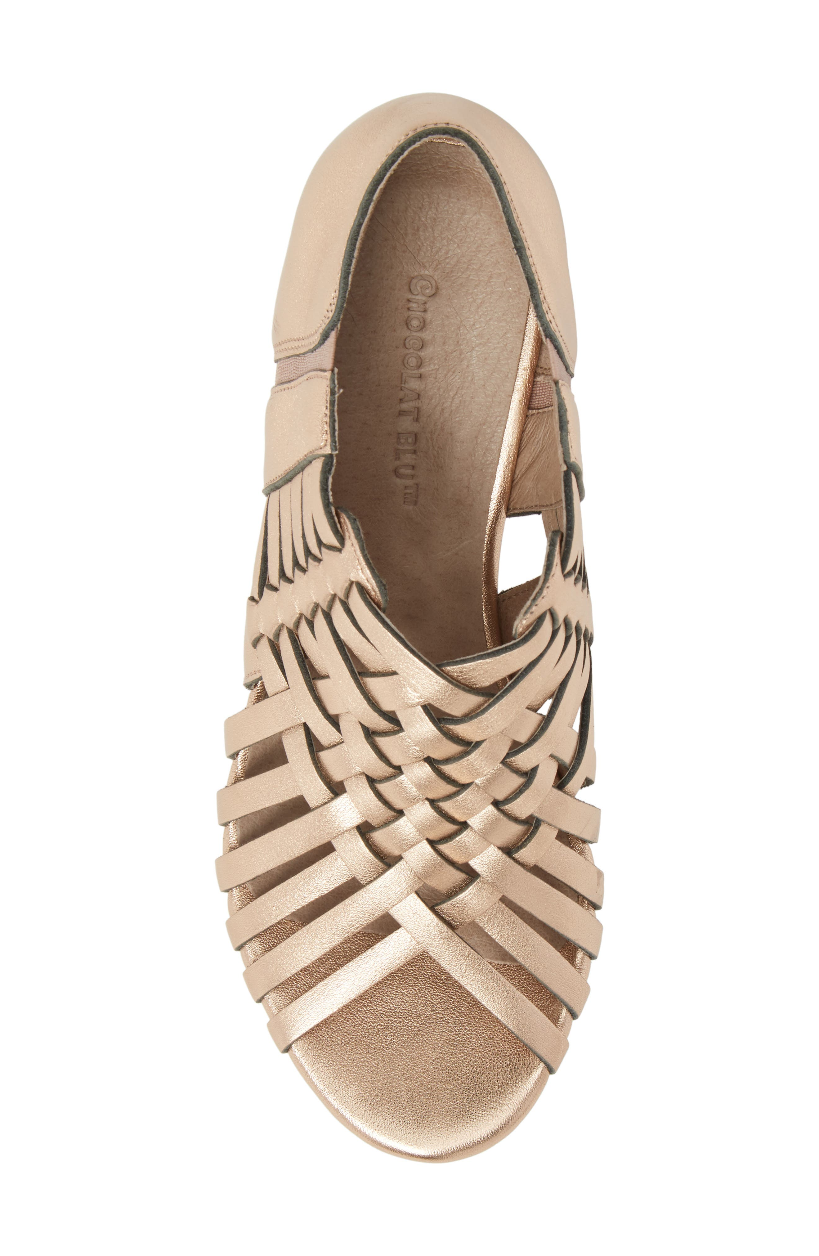 Web Woven Wedge,                             Alternate thumbnail 5, color,                             Rose Gold Leather