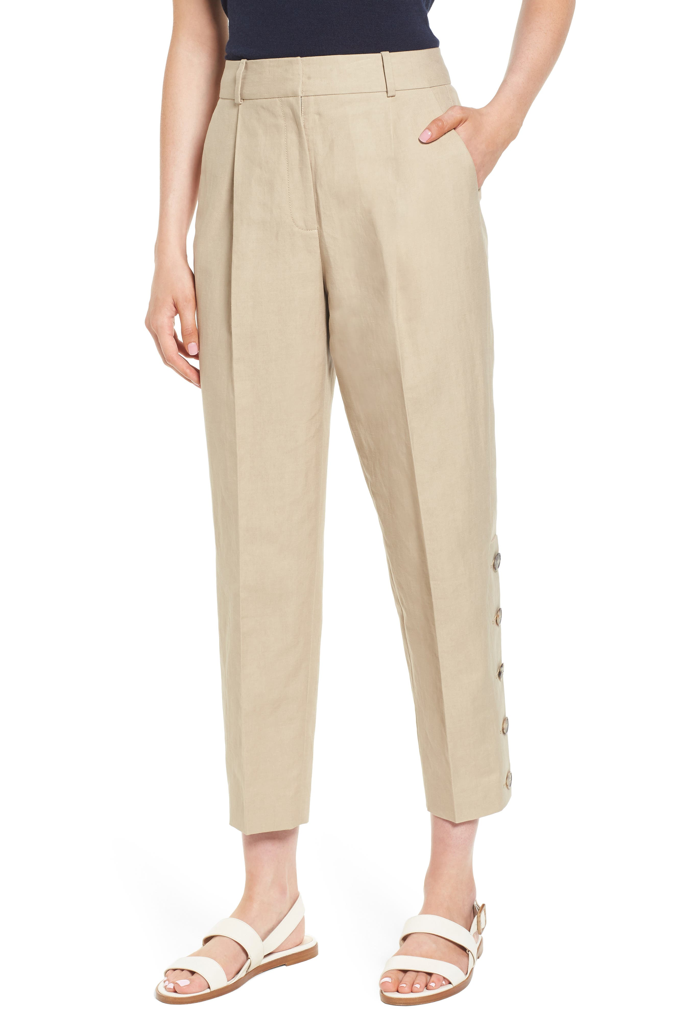 Lewit Button Side Crop Linen Blend Pants