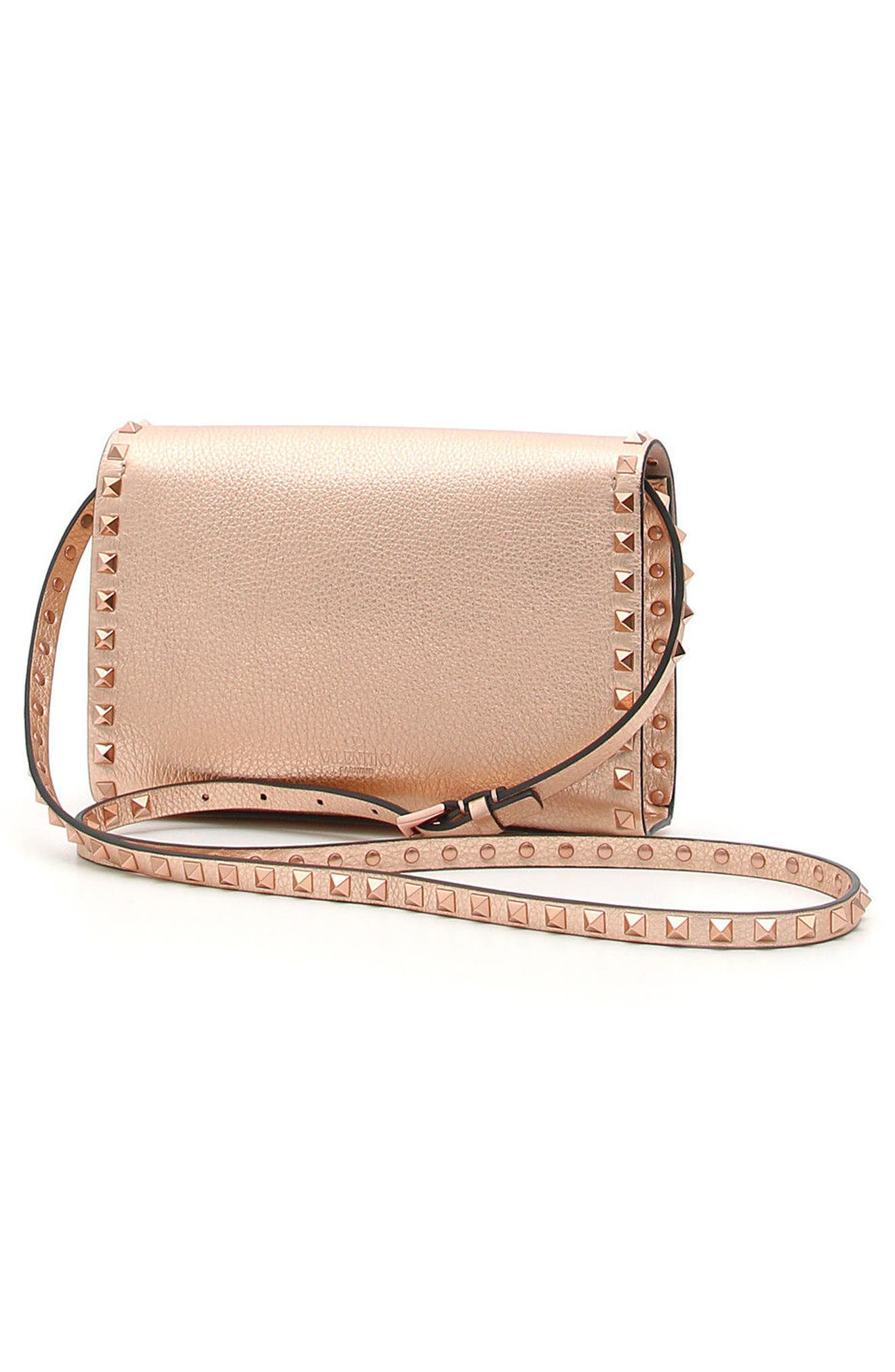 Rockstud Medium Metallic Leather Shoulder Bag,                             Alternate thumbnail 2, color,                             Rosegold
