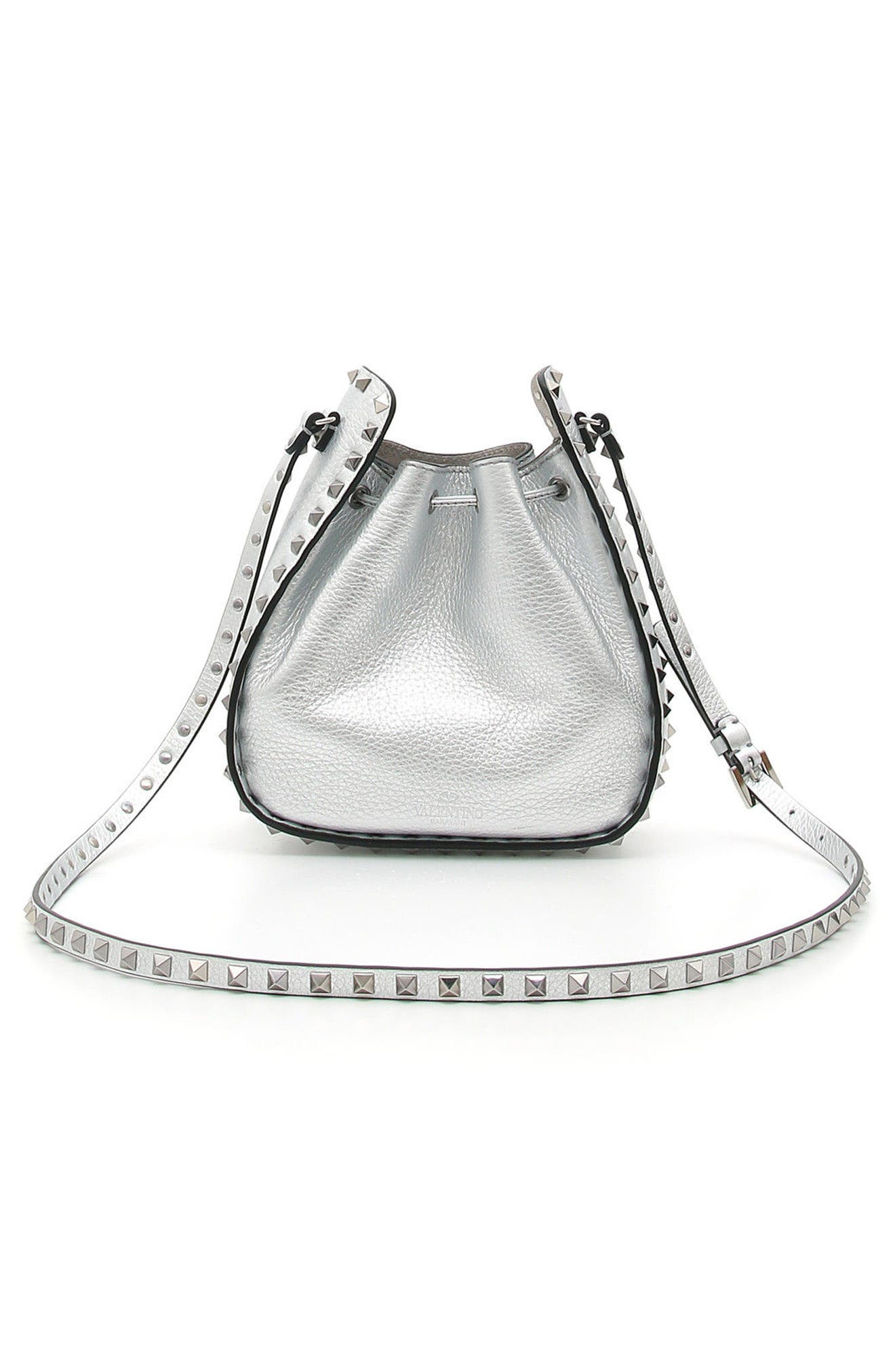 Rockstud Metallic Leather Bucket Bag,                             Alternate thumbnail 2, color,                             Silver