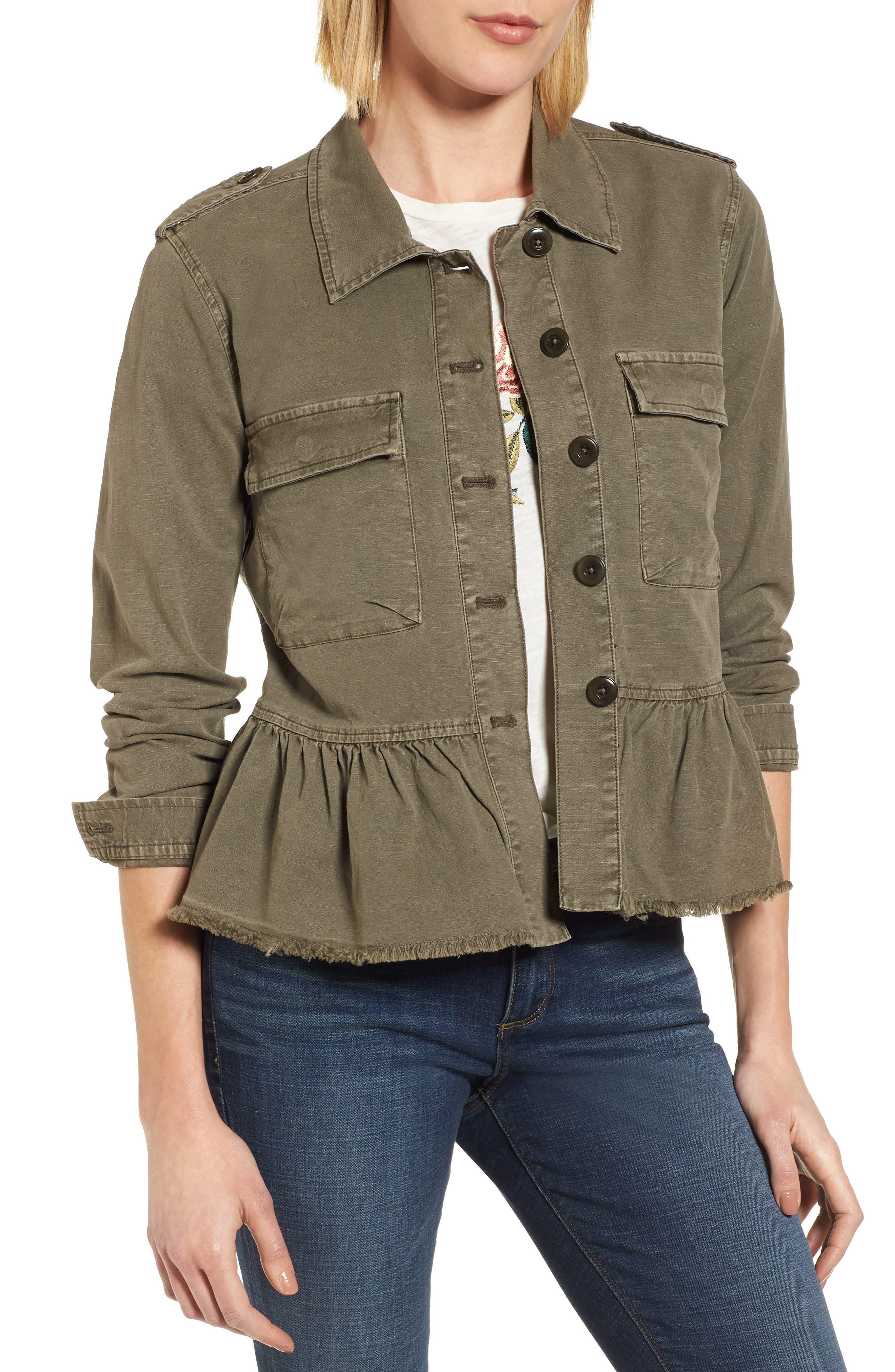 Peplum Utility Jacket,                         Main,                         color, Olive