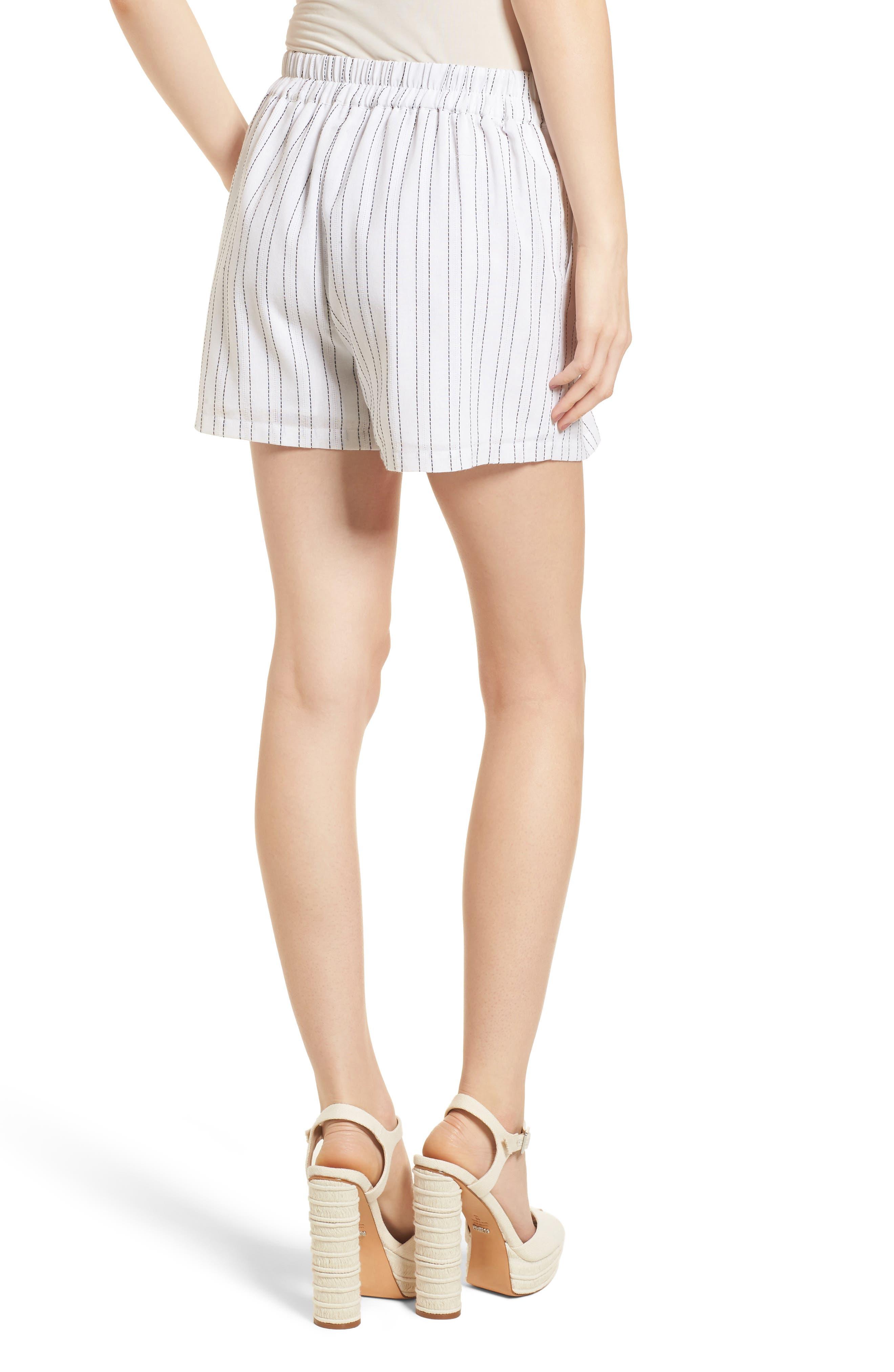 Tie Front Shorts,                             Alternate thumbnail 3, color,                             White/ Black
