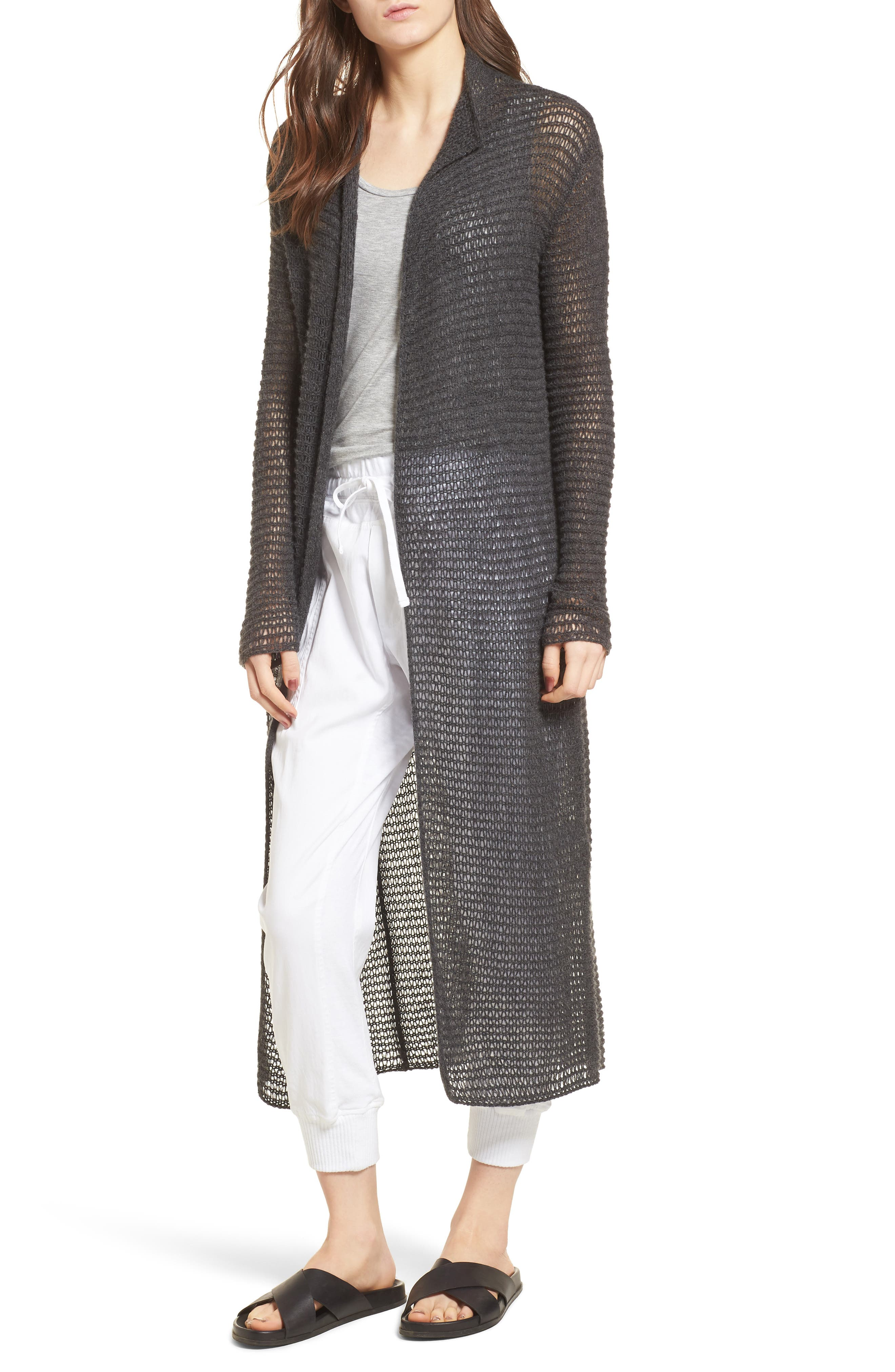 James Perse Open Knit Cashmere Duster Cardigan
