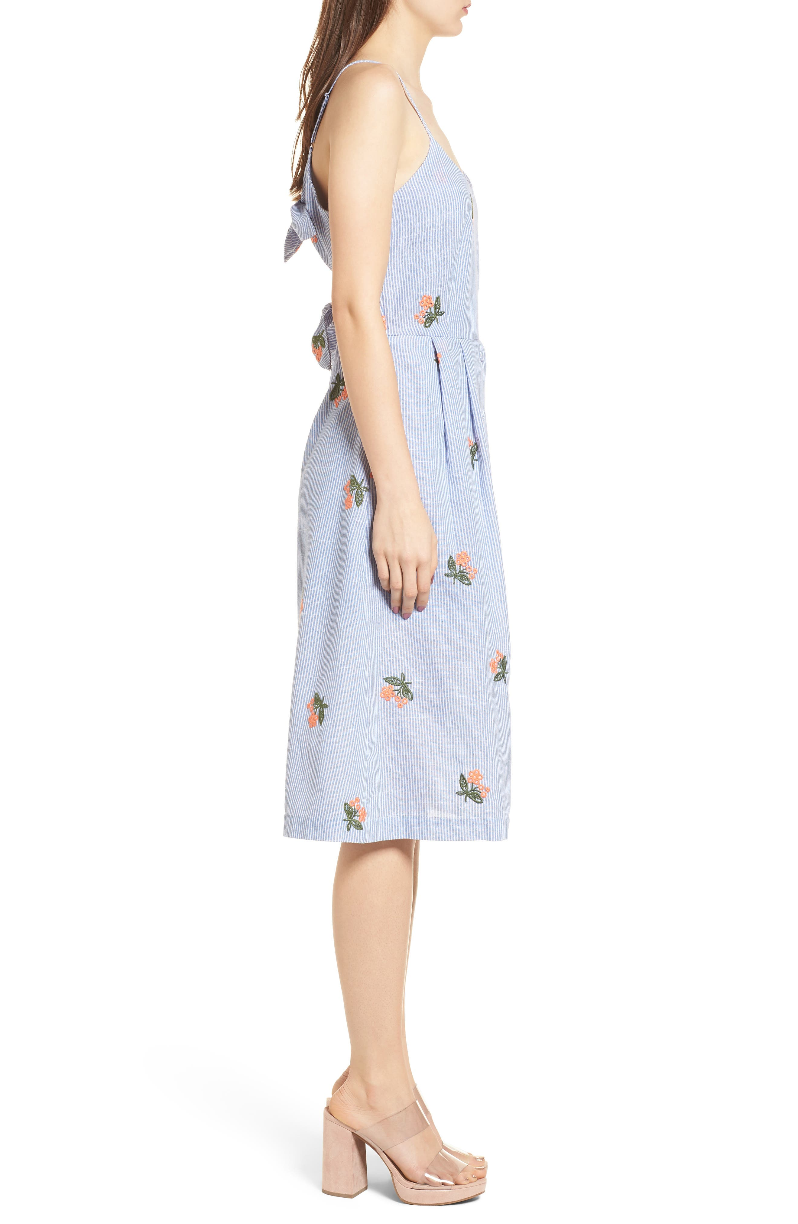 Embroidered Midi Dress,                             Alternate thumbnail 4, color,                             Embroidered Blue Stripe