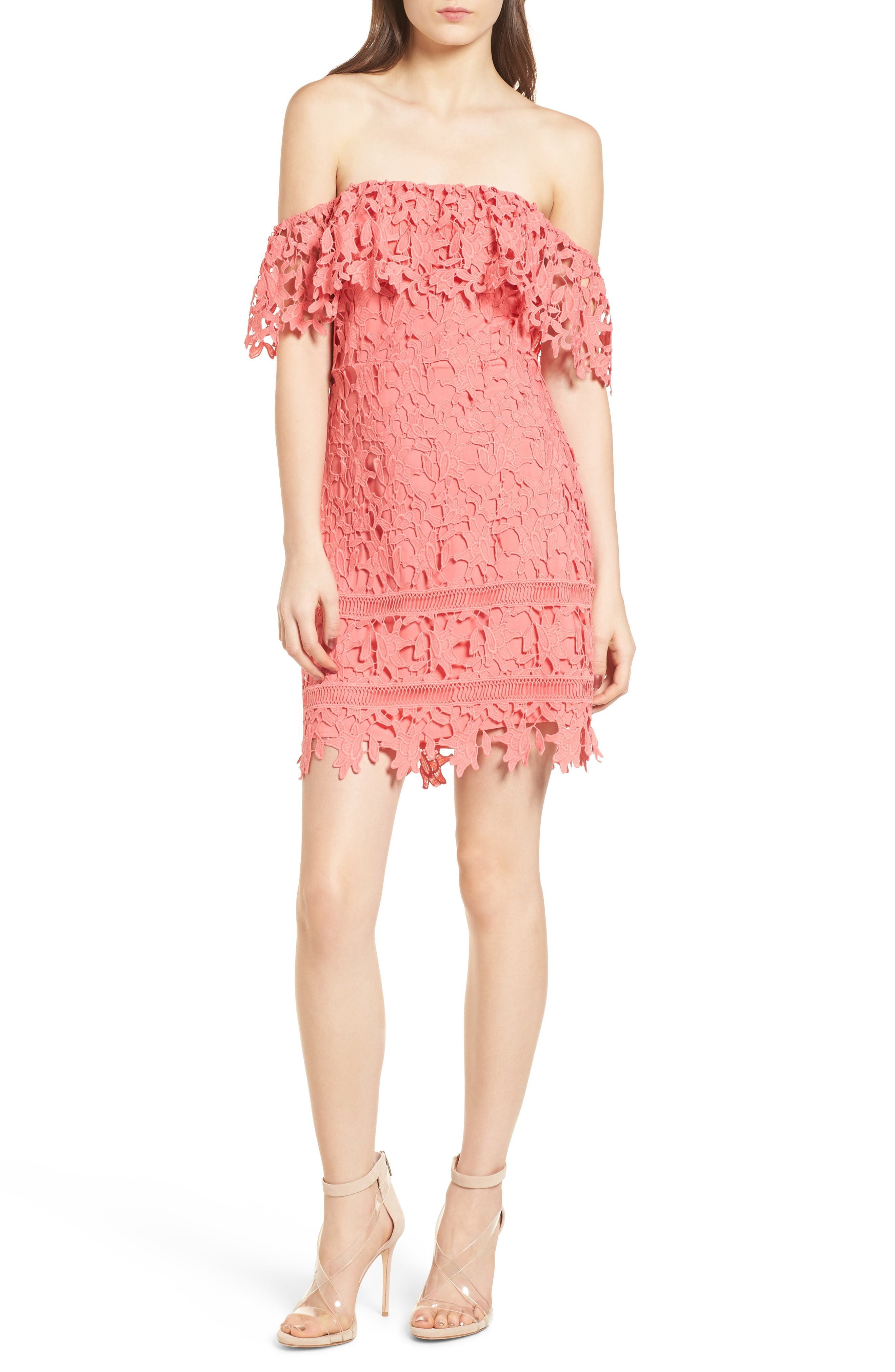 Off the Shoulder Lace Minidress,                             Main thumbnail 1, color,                             Coral