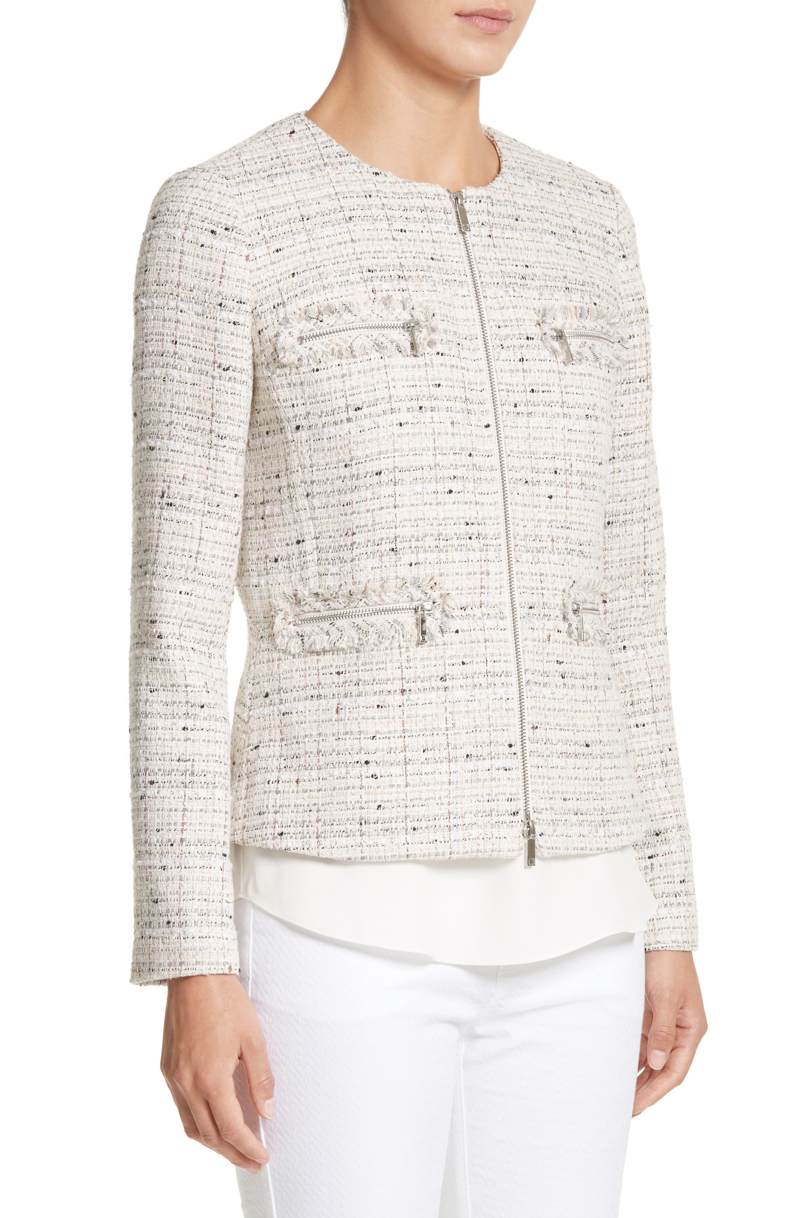 Emelyn Tweed Jacket,                             Alternate thumbnail 5, color,                             Raffia Multi