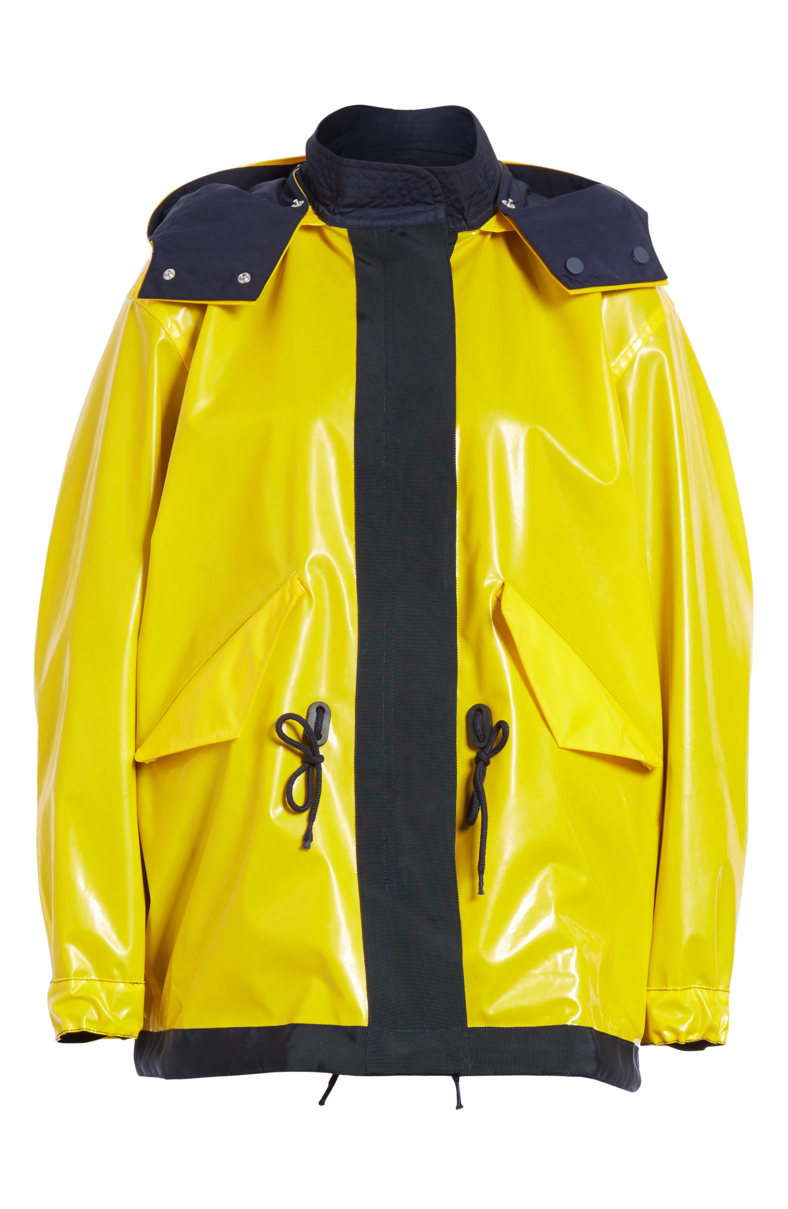 Reversible Rain Jacket,                             Alternate thumbnail 7, color,                             Tory Navy/ Cyber Yellow
