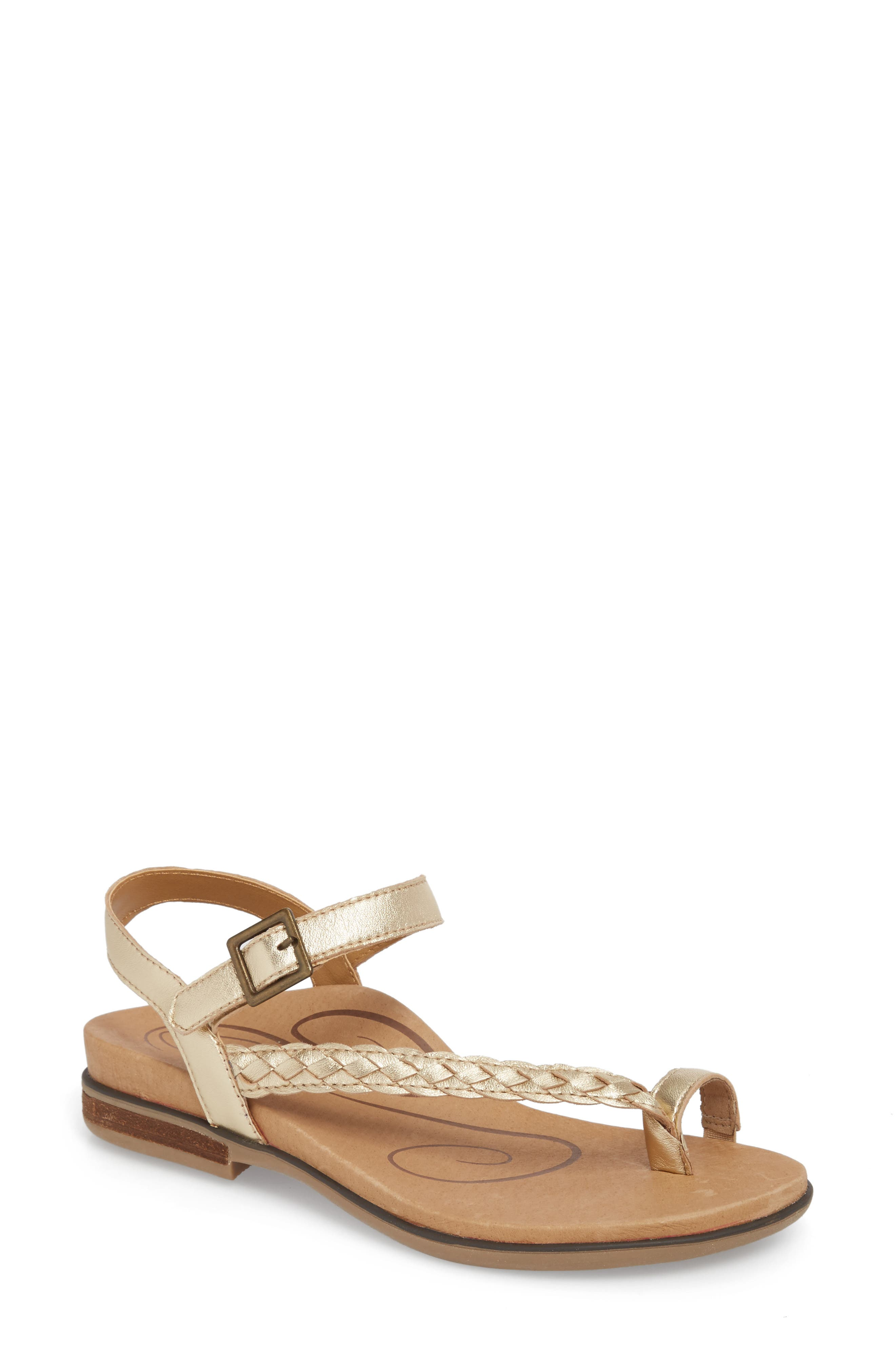 Evie Braided Strap Sandal,                             Main thumbnail 1, color,                             Gold Leather