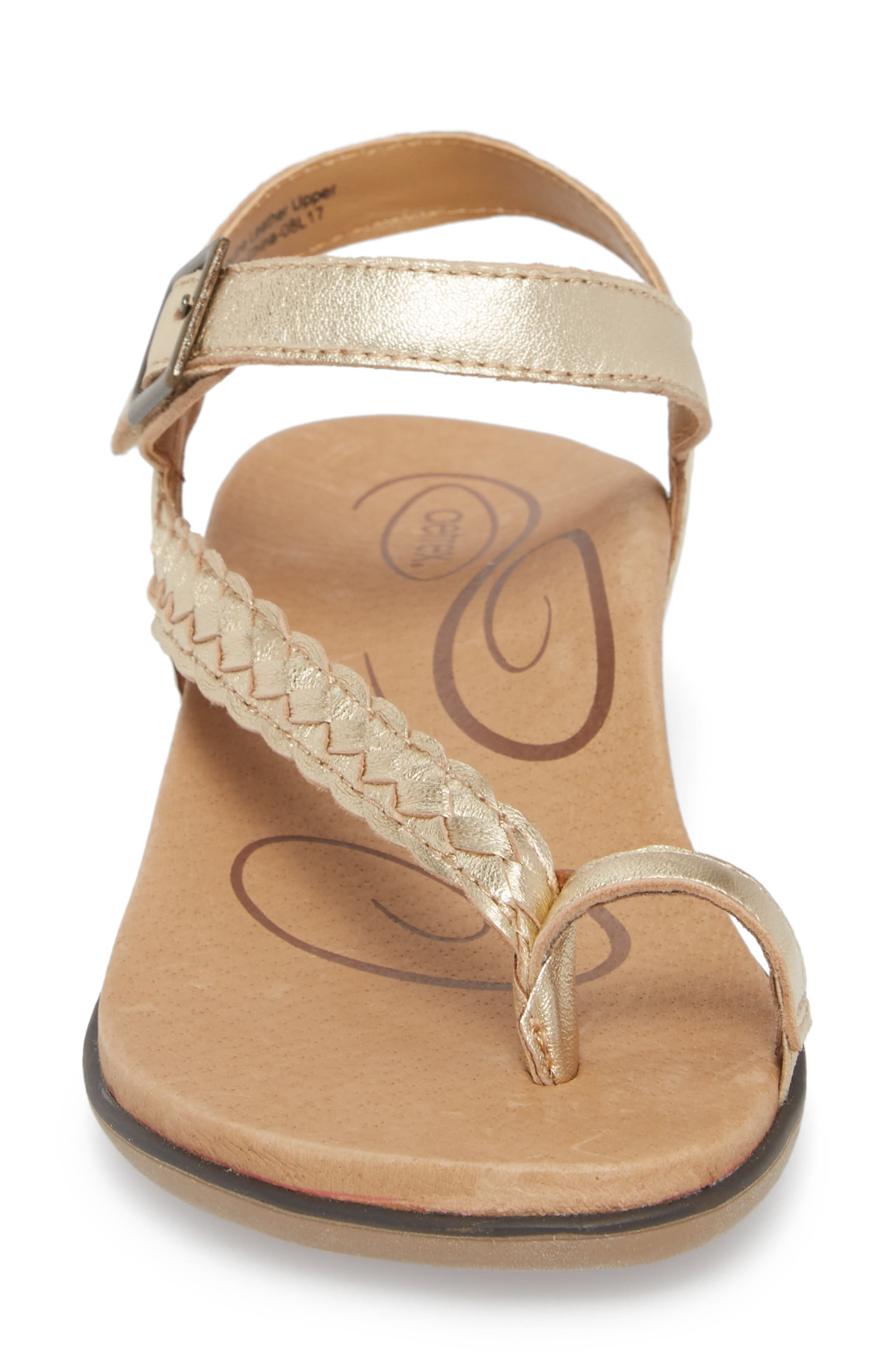 Evie Braided Strap Sandal,                             Alternate thumbnail 4, color,                             Gold Leather