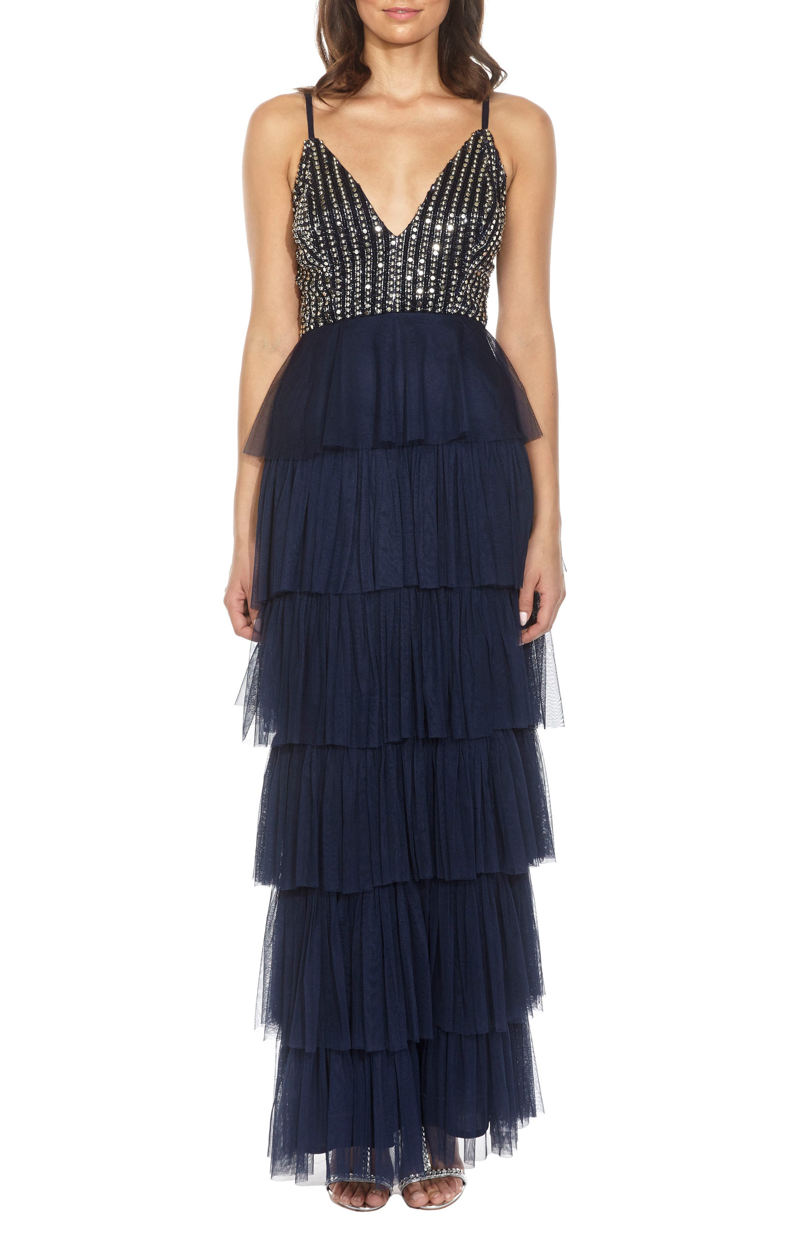 Tiered Skirt Gown,                             Main thumbnail 1, color,                             Navy