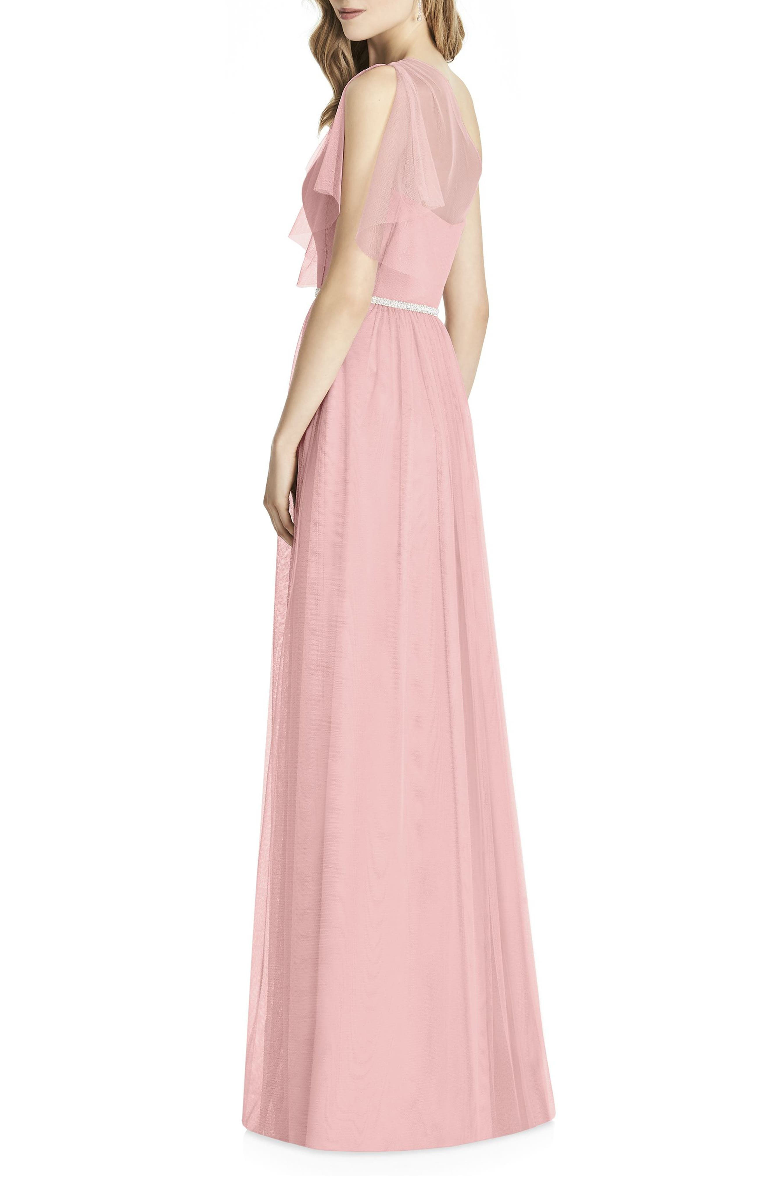 One-Shoulder Tulle Gown,                             Alternate thumbnail 2, color,                             Rose