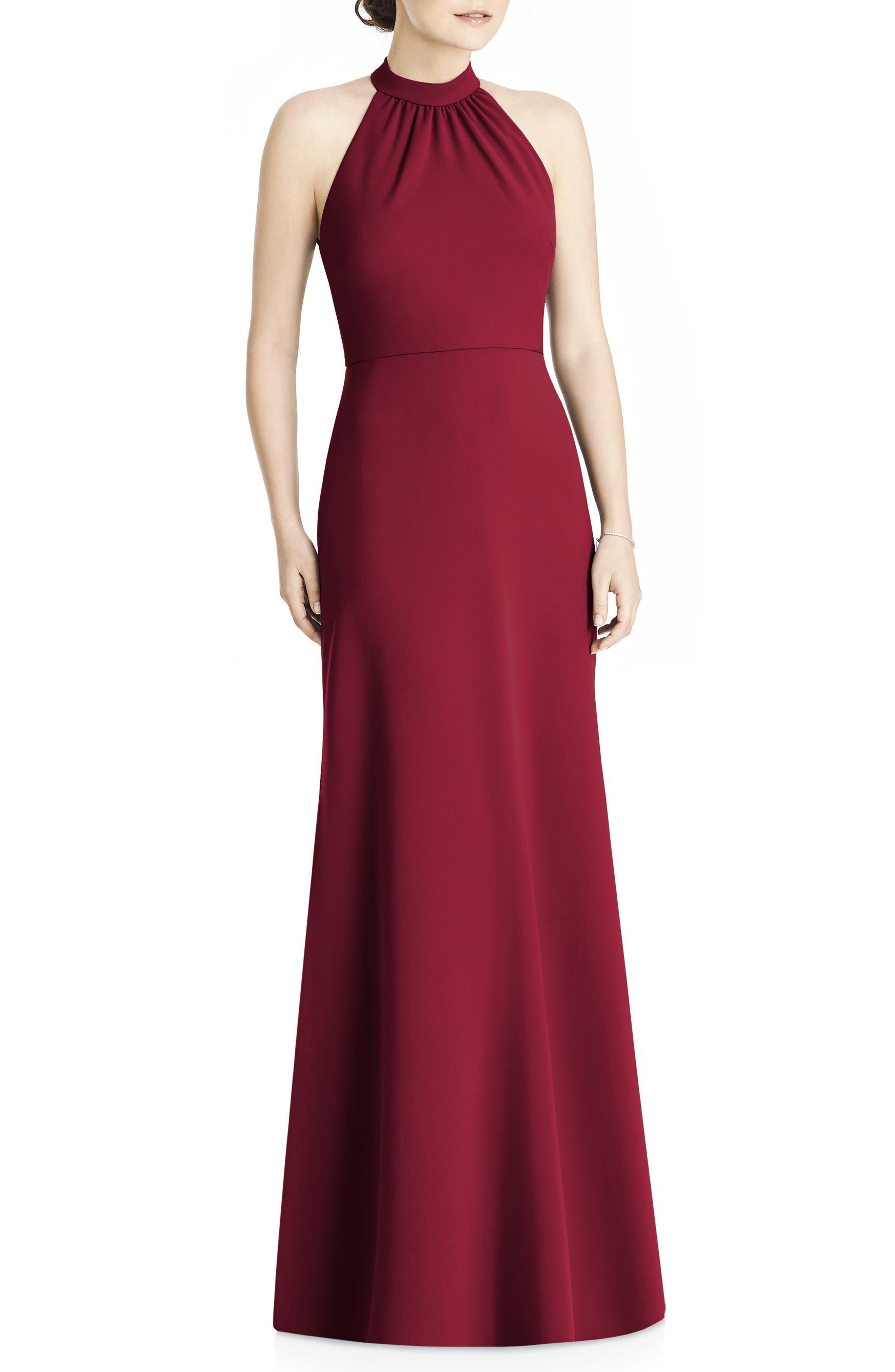 Crepe Halter Gown,                             Main thumbnail 1, color,                             Burgundy