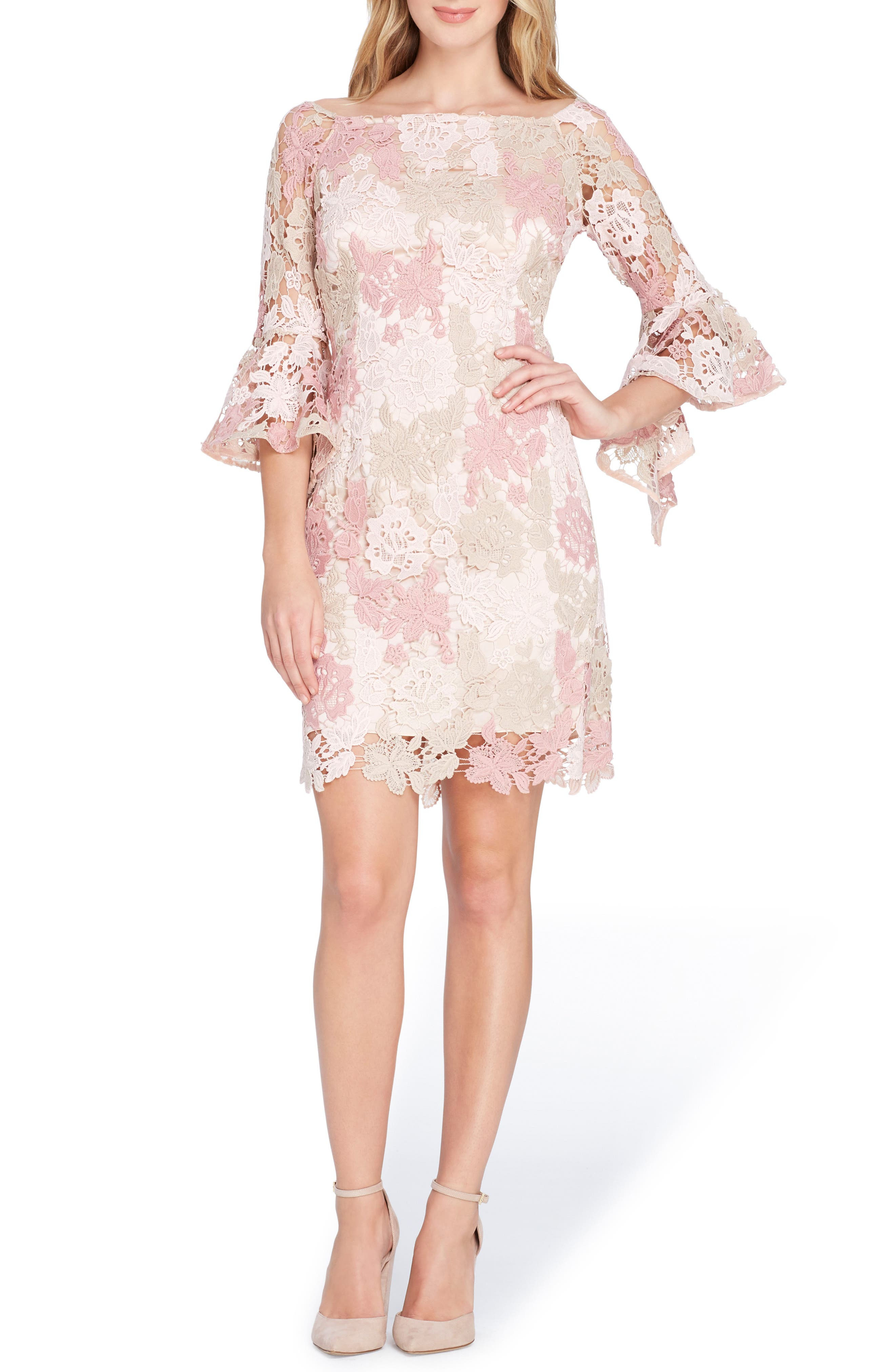 Lace Bell Sleeve Sheath Dress,                         Main,                         color, Blush/ Rose/ Taupe