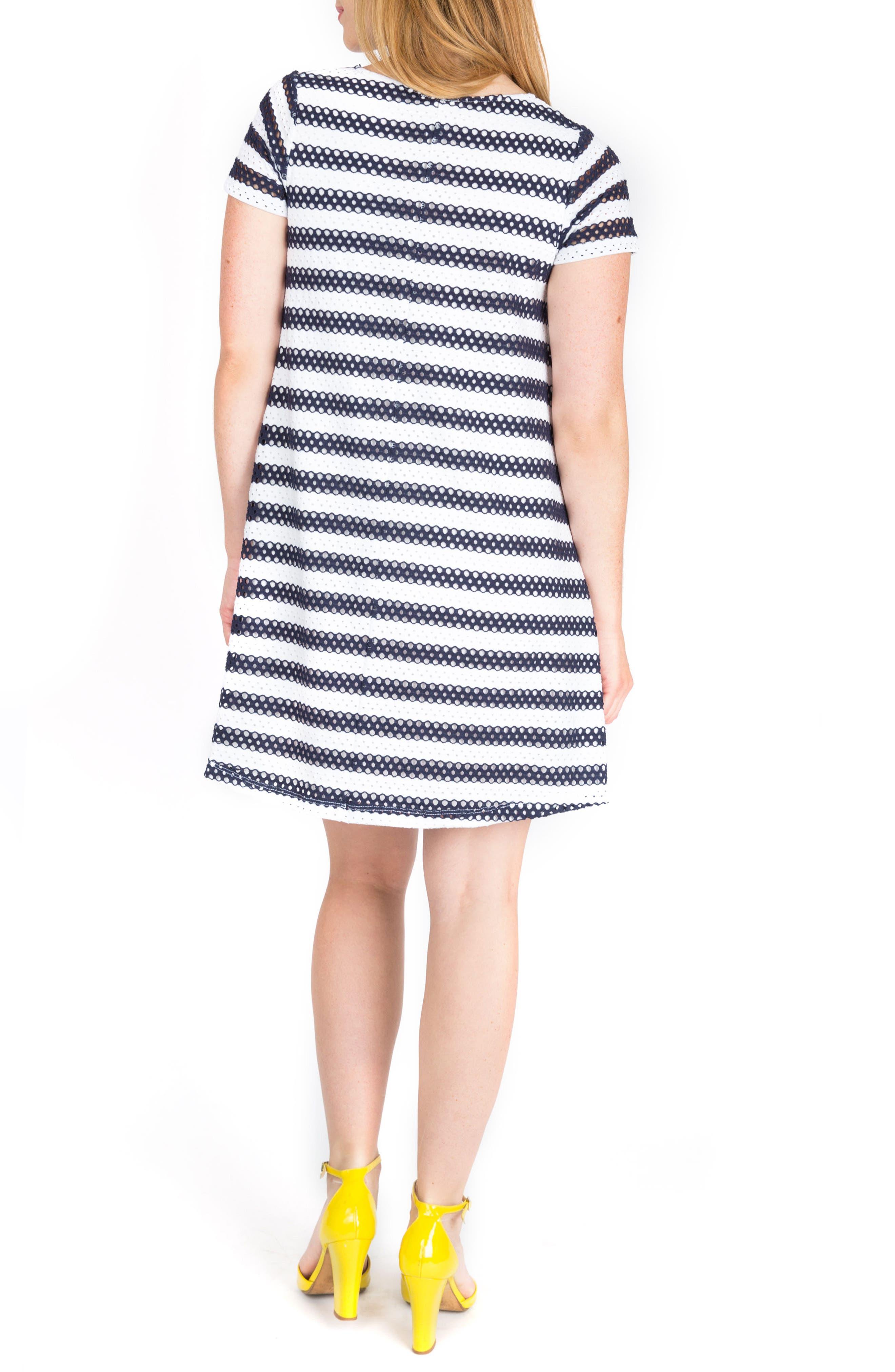Cha Cha Print Maternity Shift Dress,                             Alternate thumbnail 2, color,                             Navy Stripe