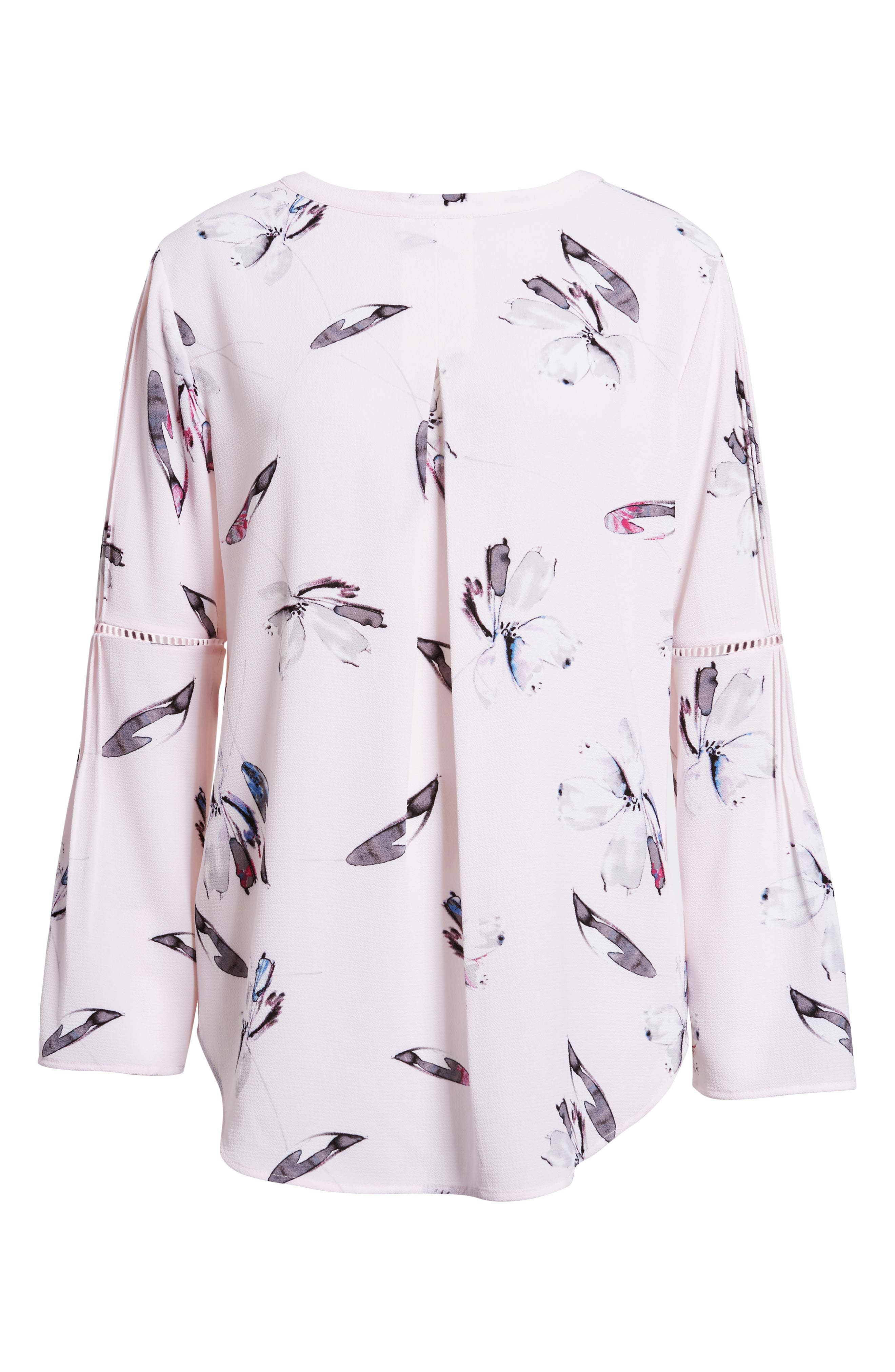 Pleated Bell Sleeve Floral Crepe Top,                             Alternate thumbnail 6, color,                             112-Light Pink