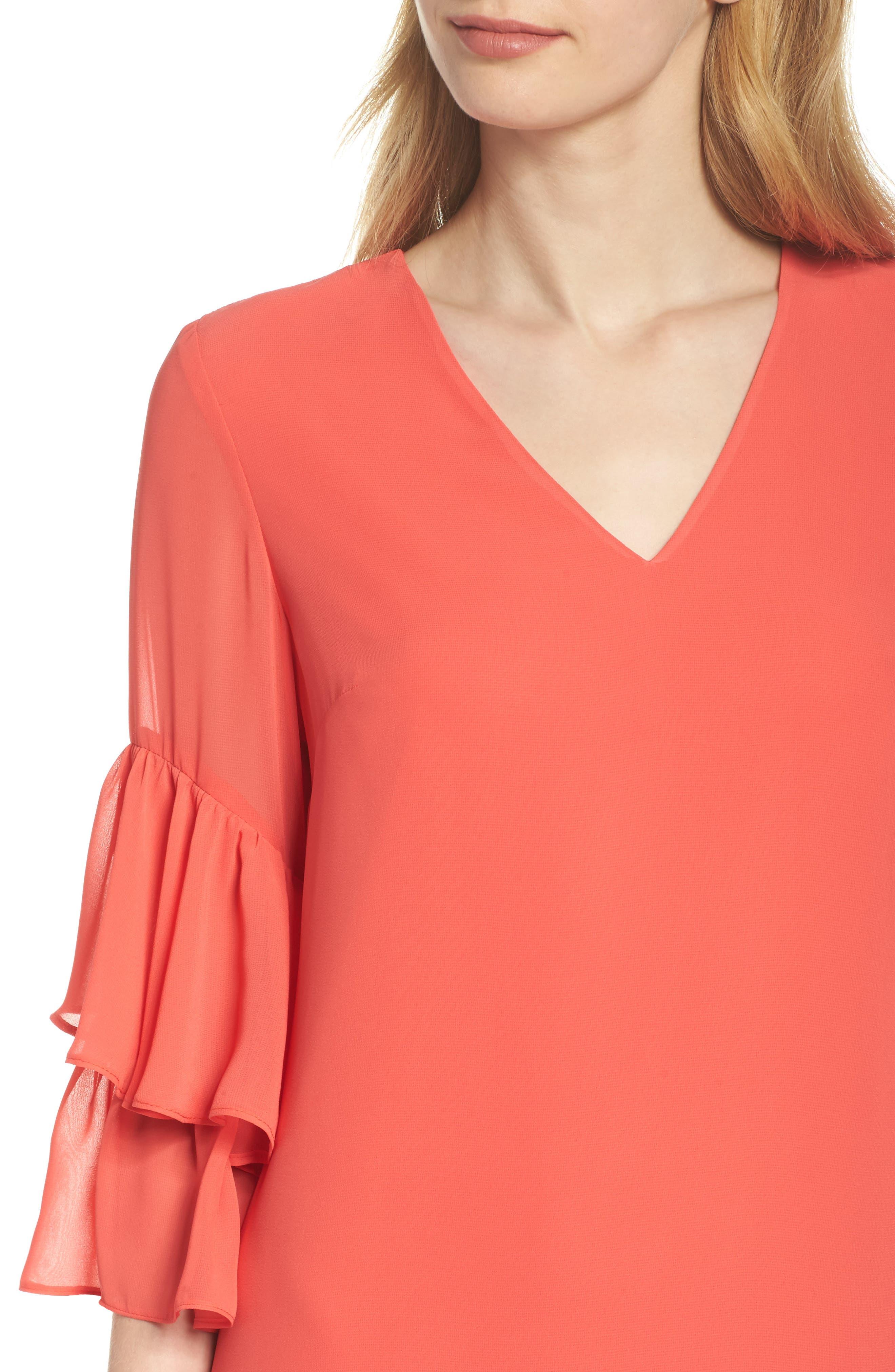 Carmen Tiered Ruffle Sleeve Shift Dress,                             Alternate thumbnail 4, color,                             Coral Crush