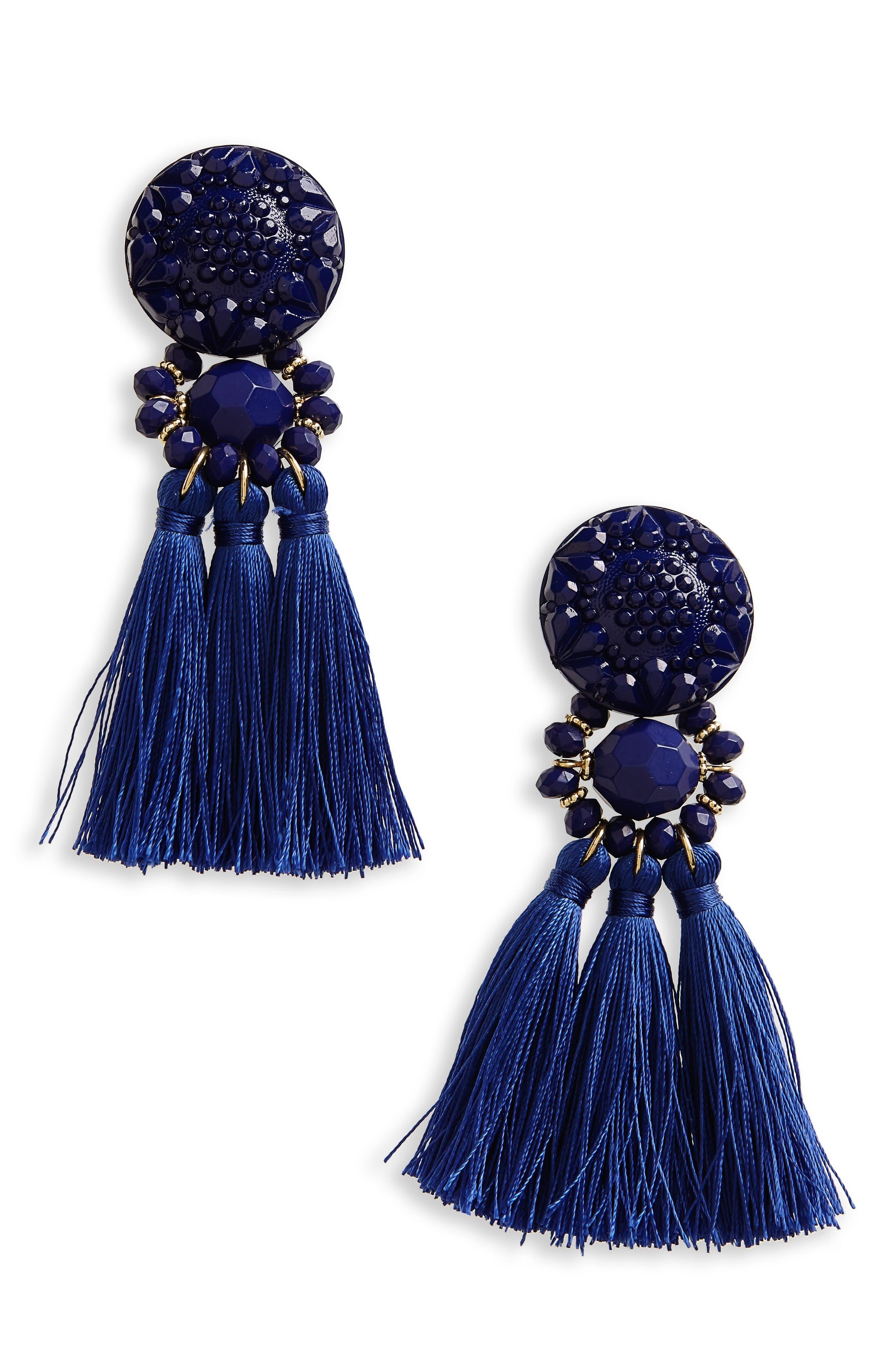 Topshop 3-Tassel Drop Earrings