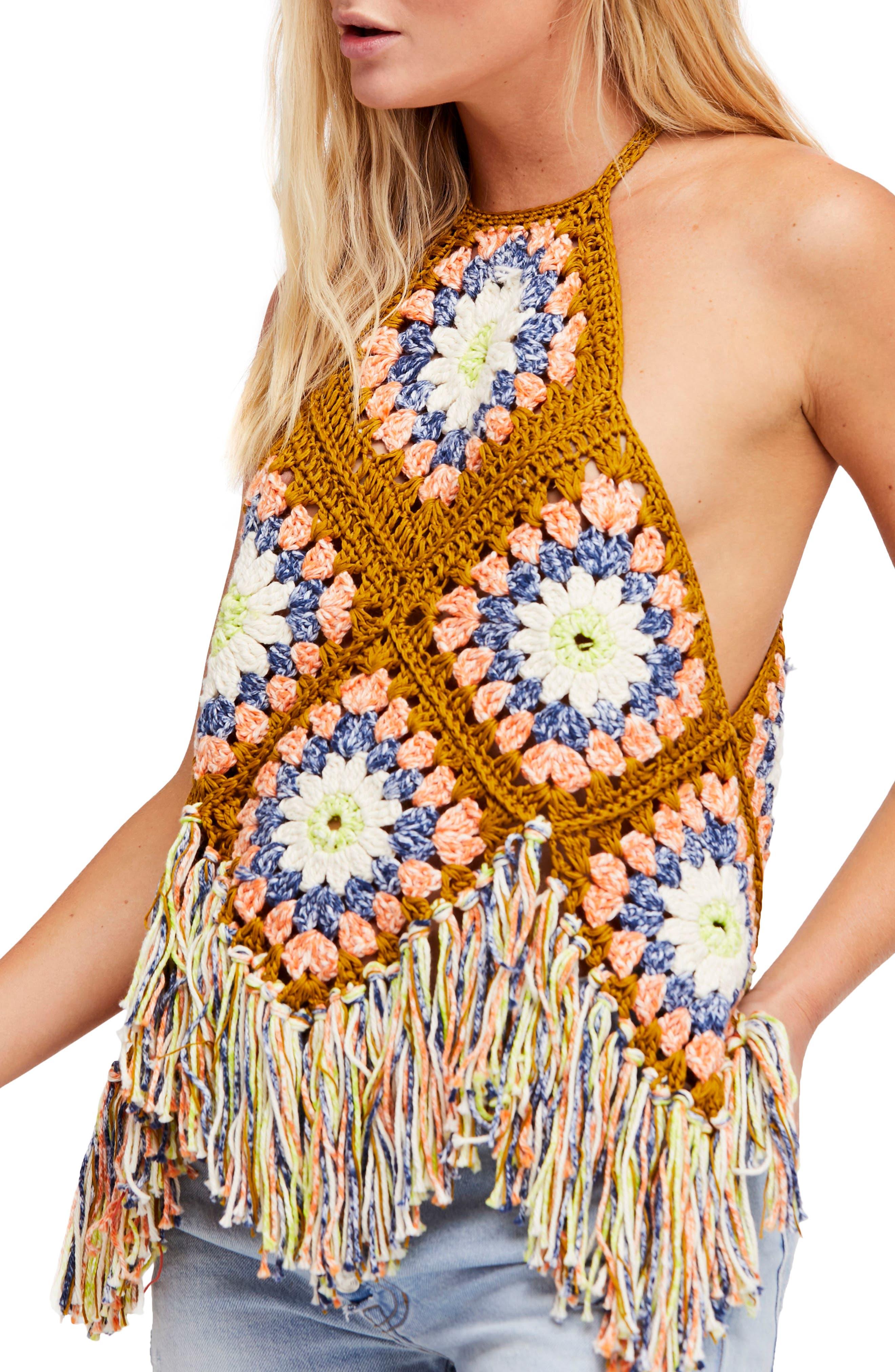 Free People Summer of Love Crochet Halter Top
