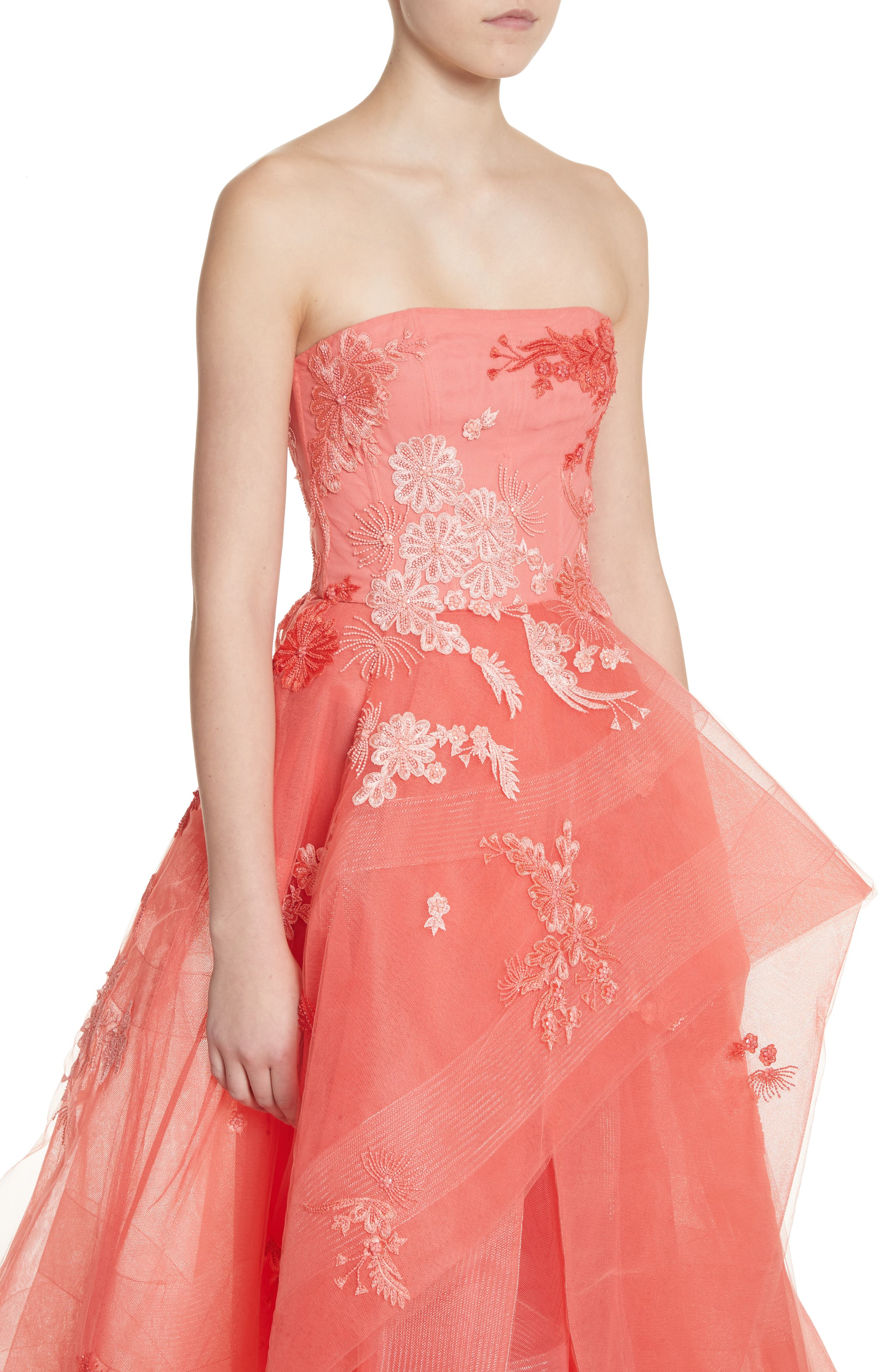 Embroidered Strapless Ballgown,                             Alternate thumbnail 4, color,                             Coral