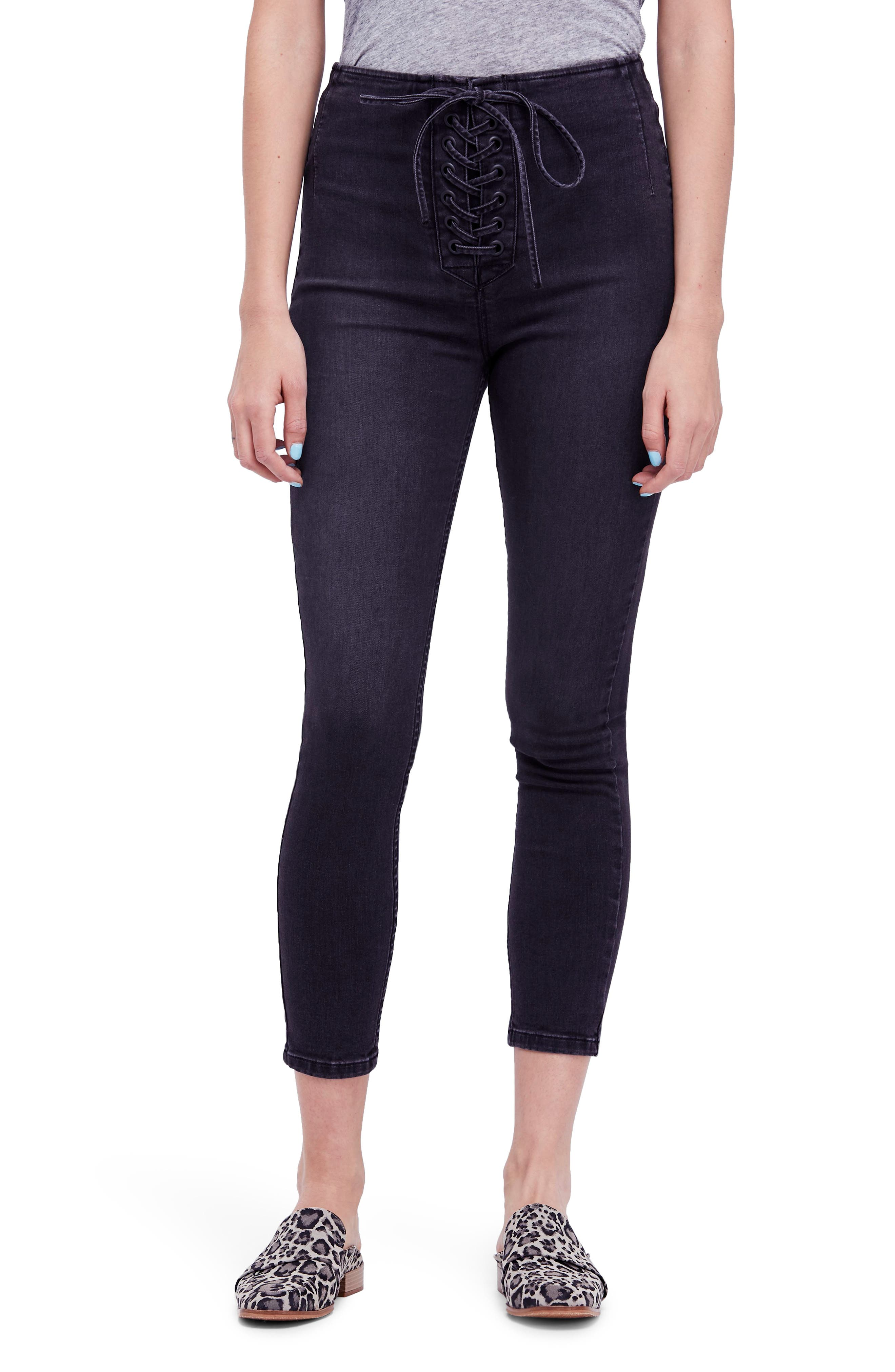 Lace-Up High Waist Denim Leggings,                         Main,                         color, Black