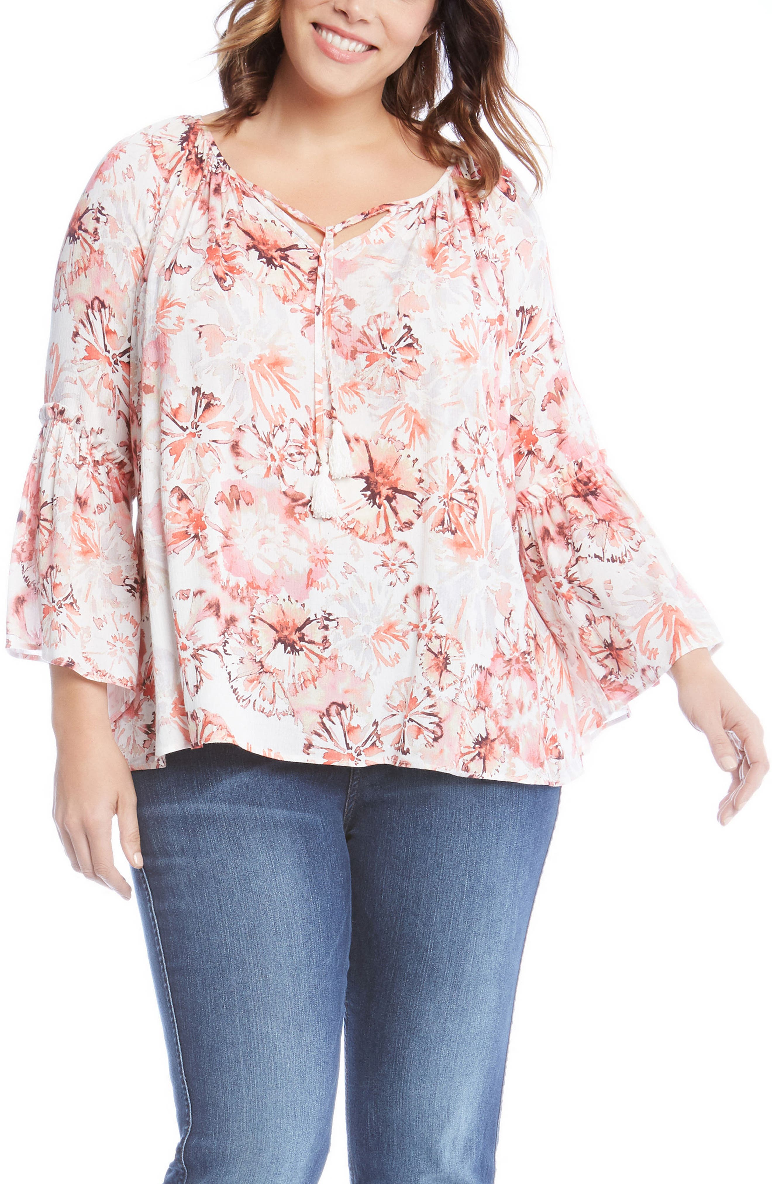 Ruffle Sleeve Top,                         Main,                         color, Rose