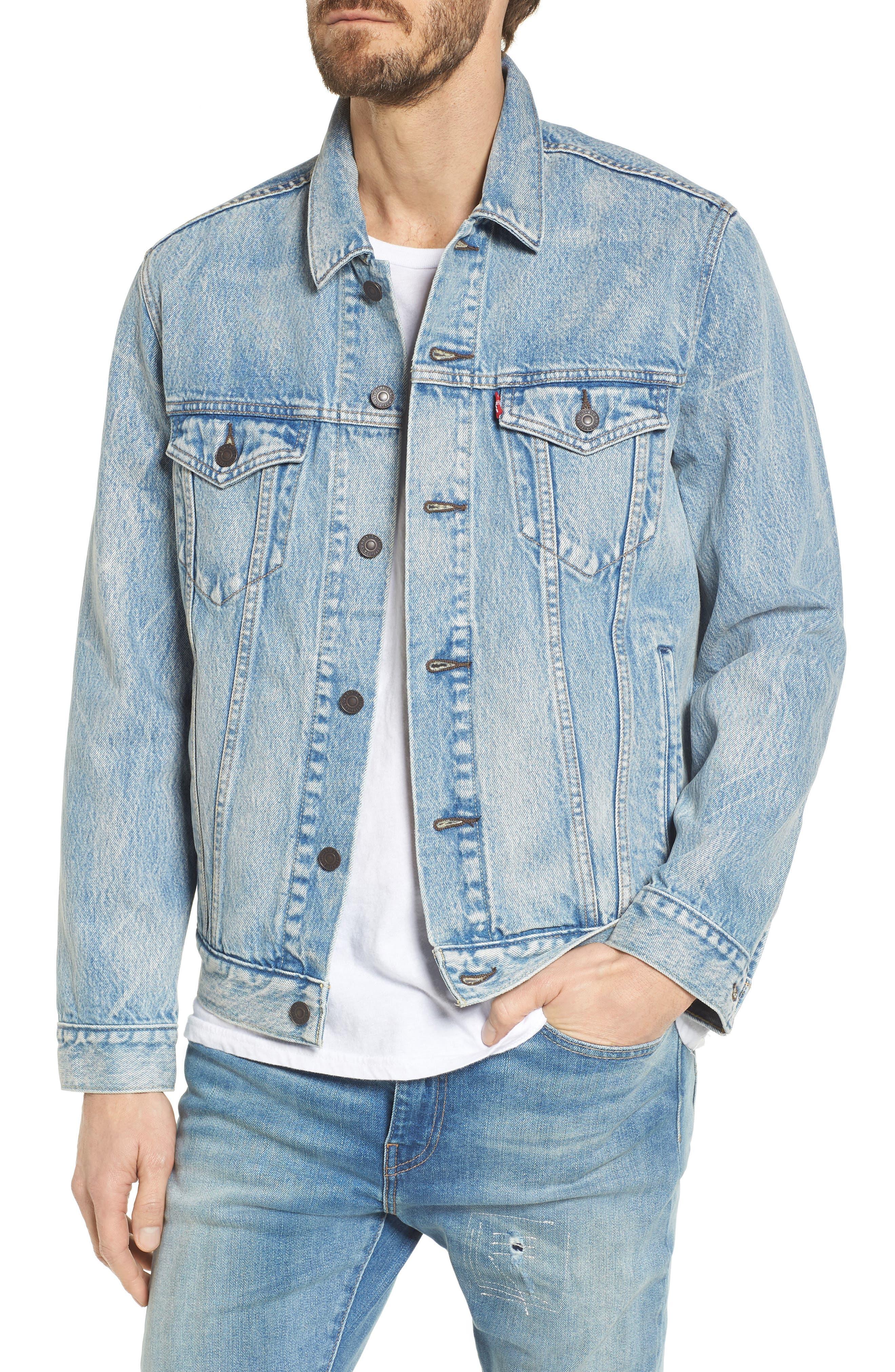 Trucker Denim Jacket,                         Main,                         color, Rolled Up Dollar
