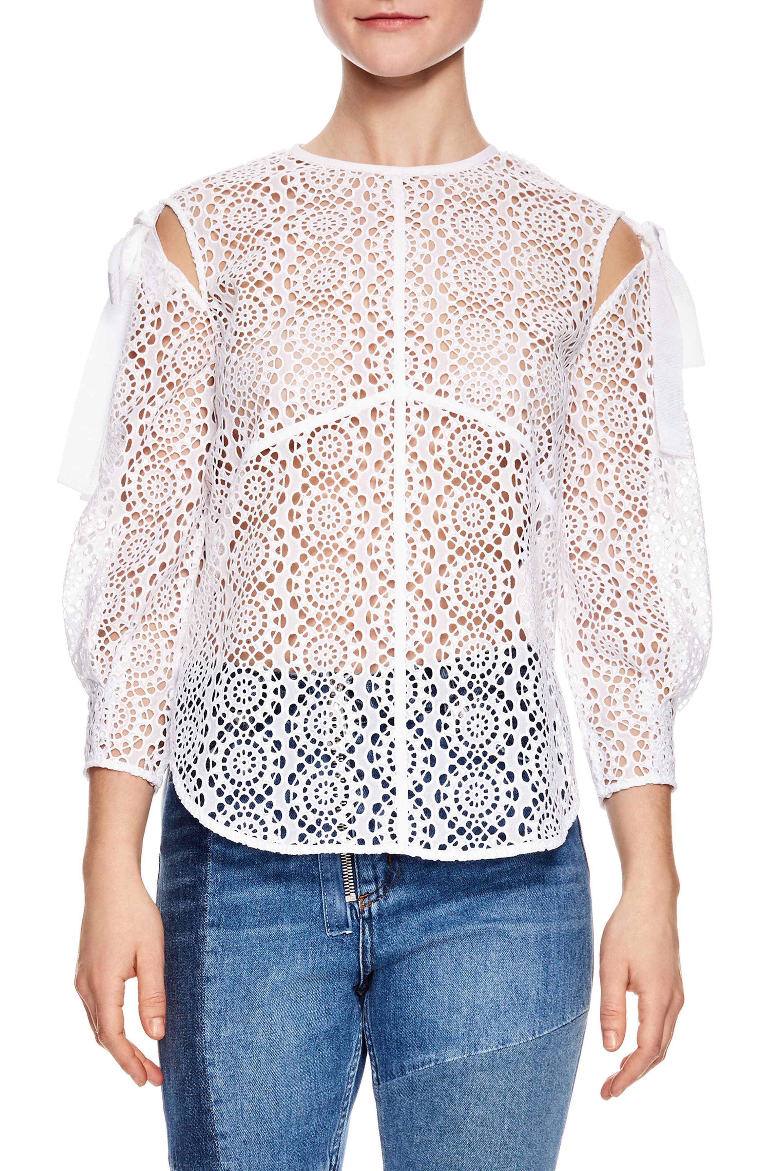 Blanc Sheer Lace Top,                             Main thumbnail 1, color,                             White