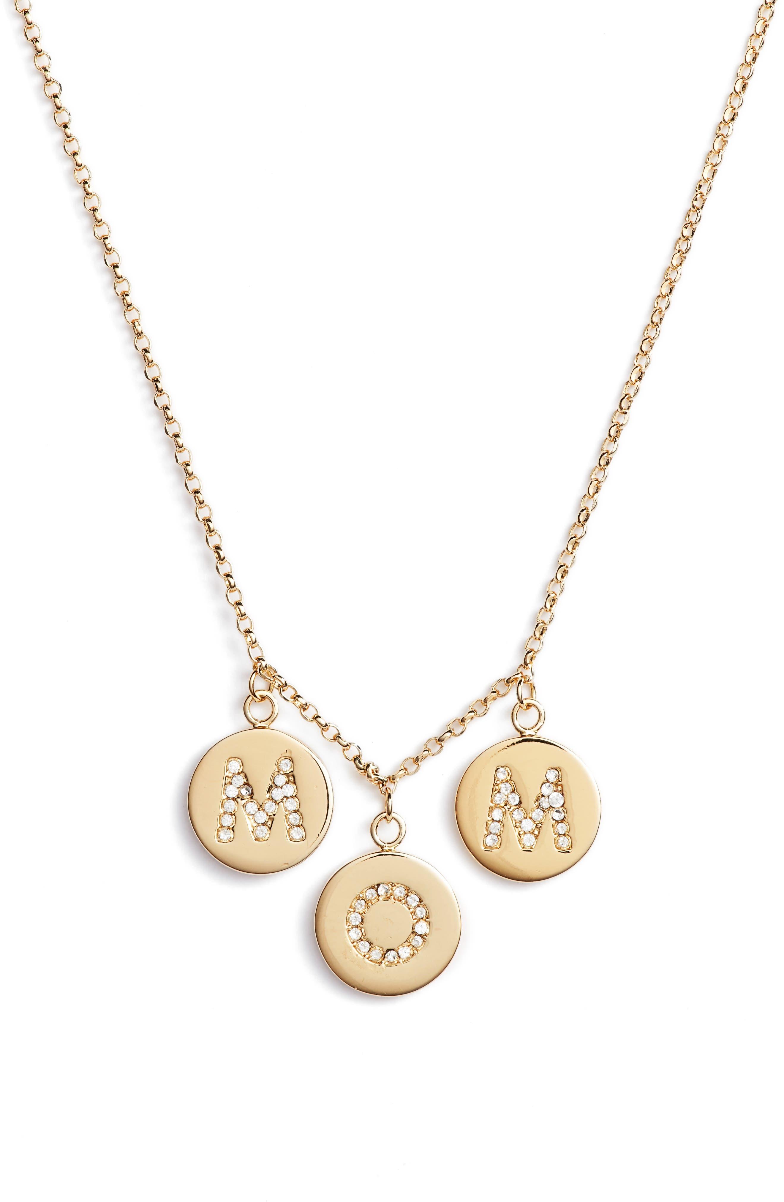 mom knows best pavé charm necklace,                         Main,                         color, Gold