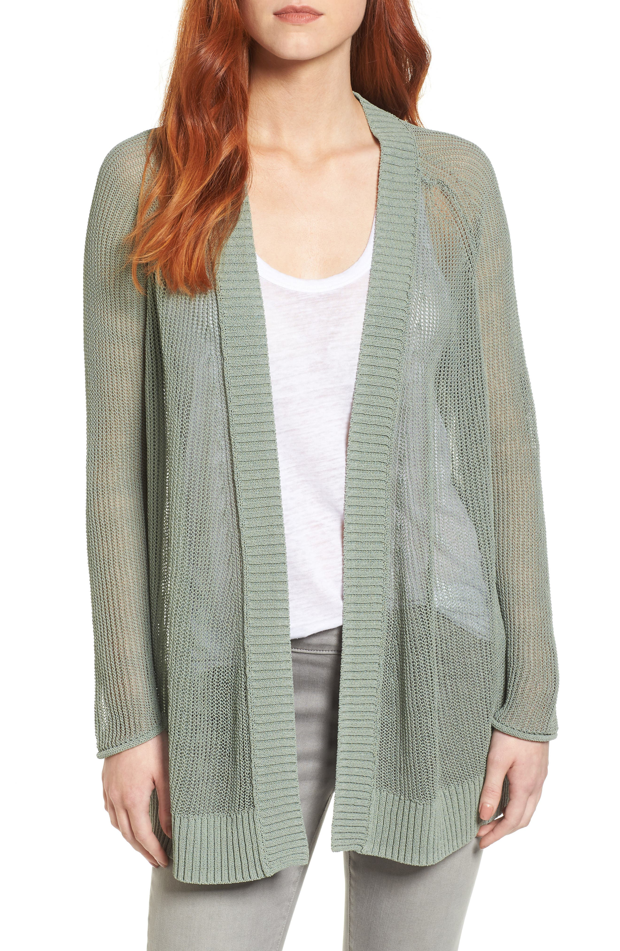 Open Cotton Blend Cardigan,                             Main thumbnail 1, color,                             Green Lilypad