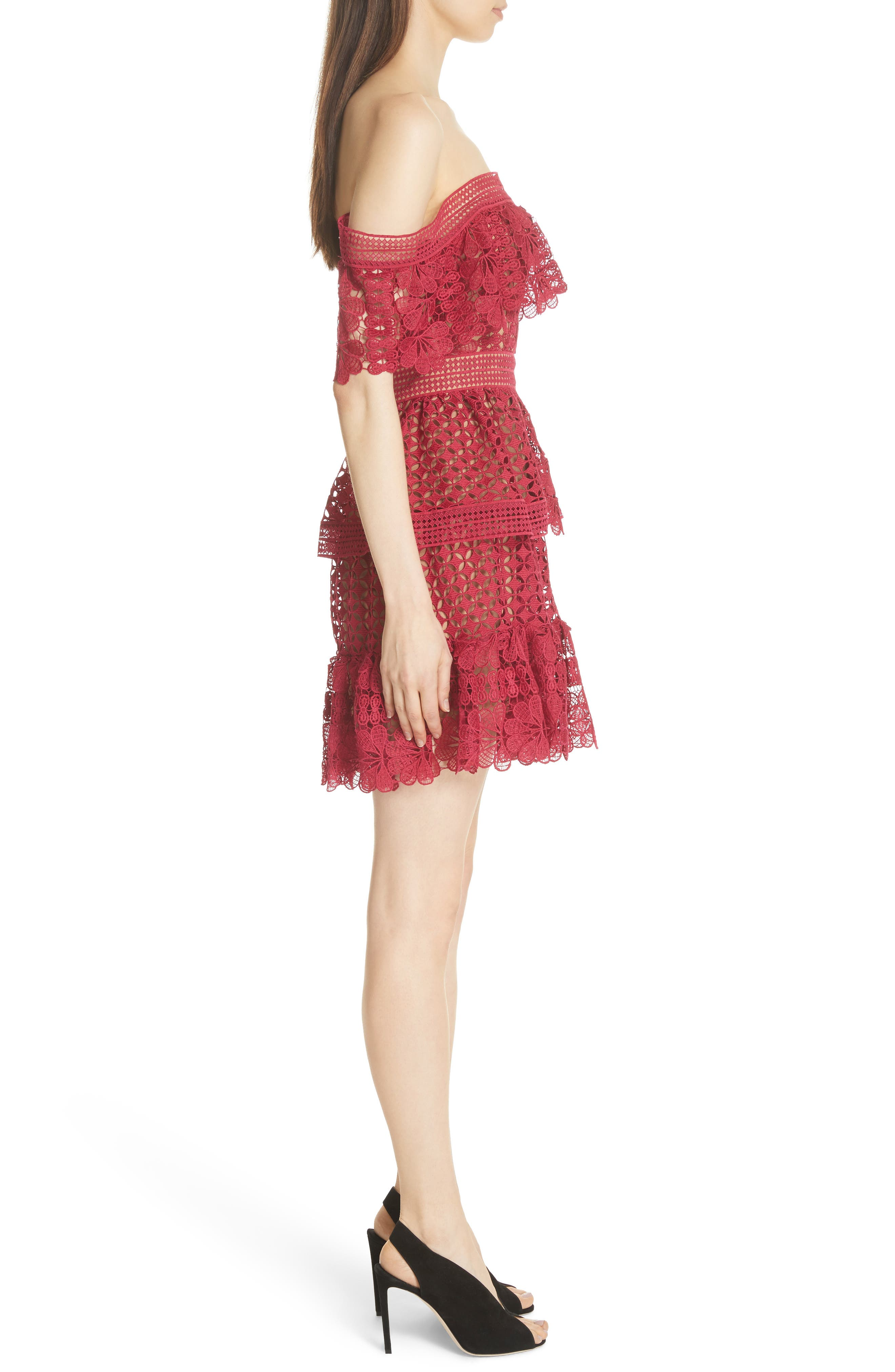 Off the Shoulder Guipure Lace Dress,                             Alternate thumbnail 3, color,                             Red