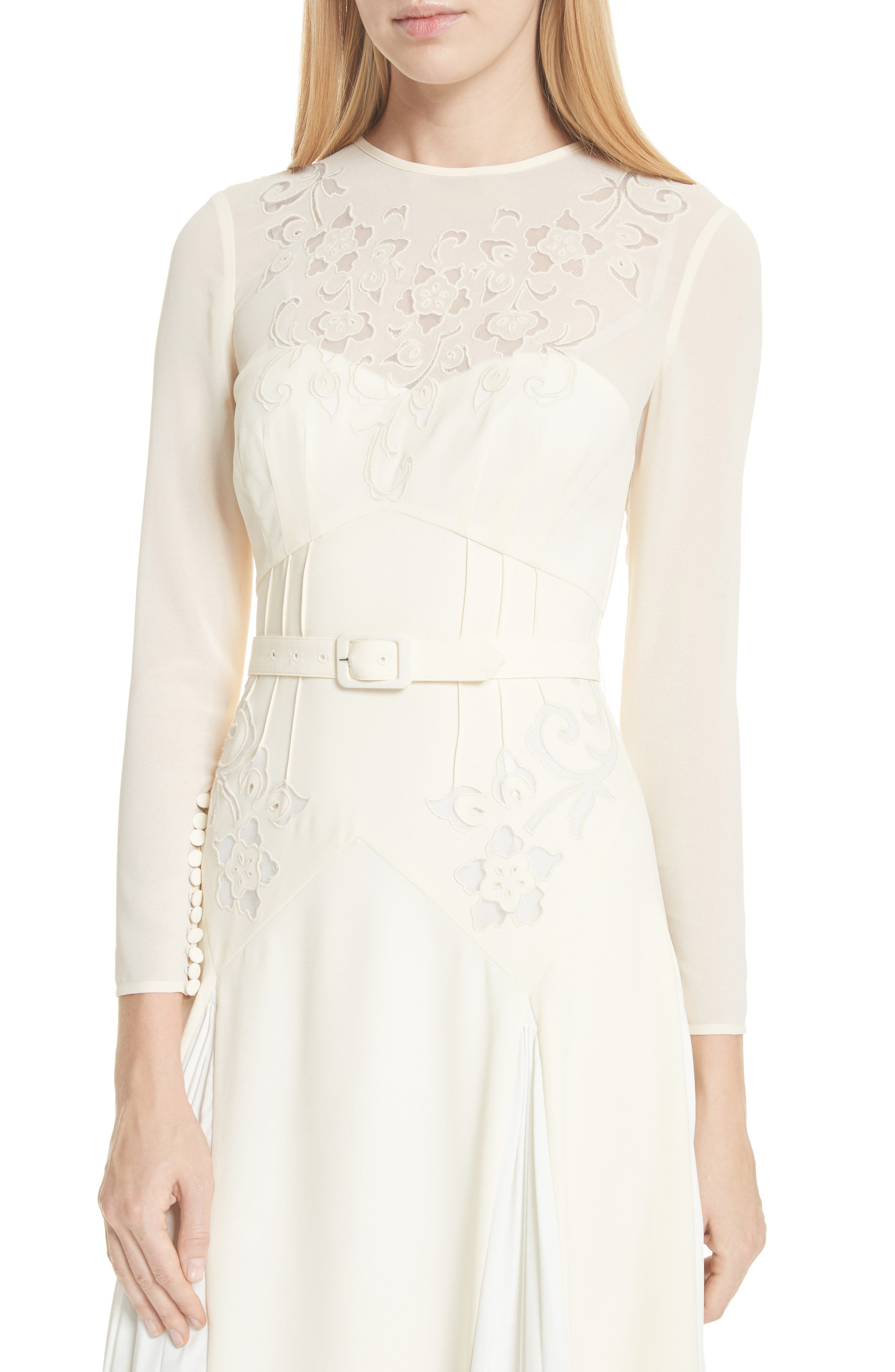 Embroidered Belted Midi Dress,                             Alternate thumbnail 4, color,                             Ivory