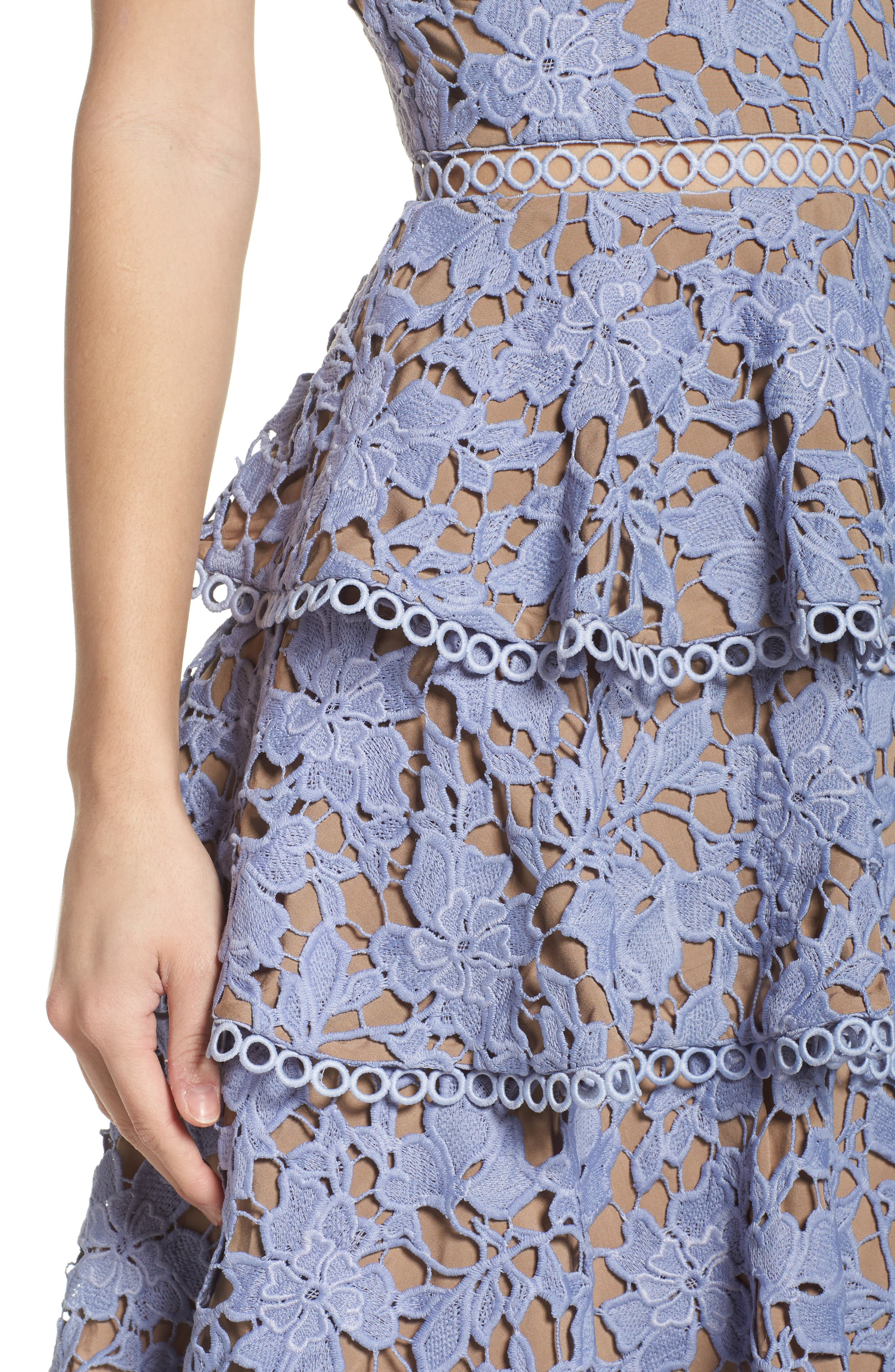 Camellia Lace Tiered Midi Dress,                             Alternate thumbnail 4, color,                             Violet