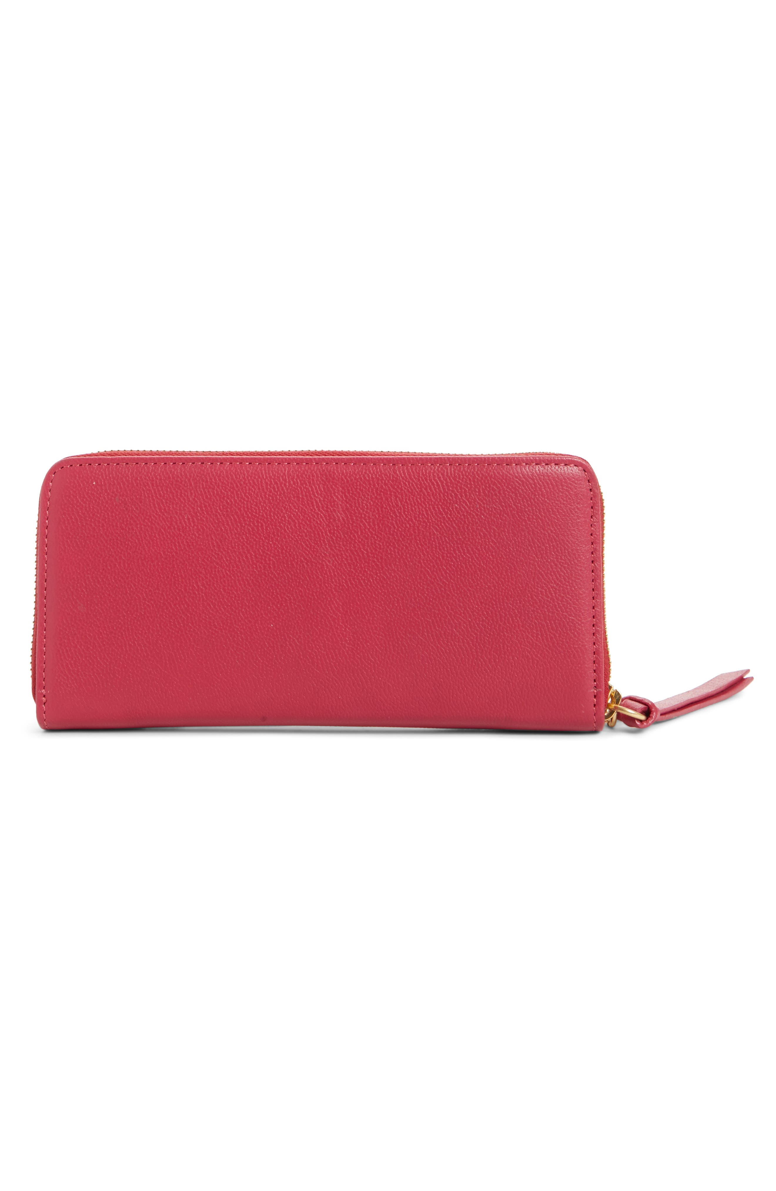 Mino Zip Around Leather Wallet,                             Alternate thumbnail 3, color,                             Berry Pink