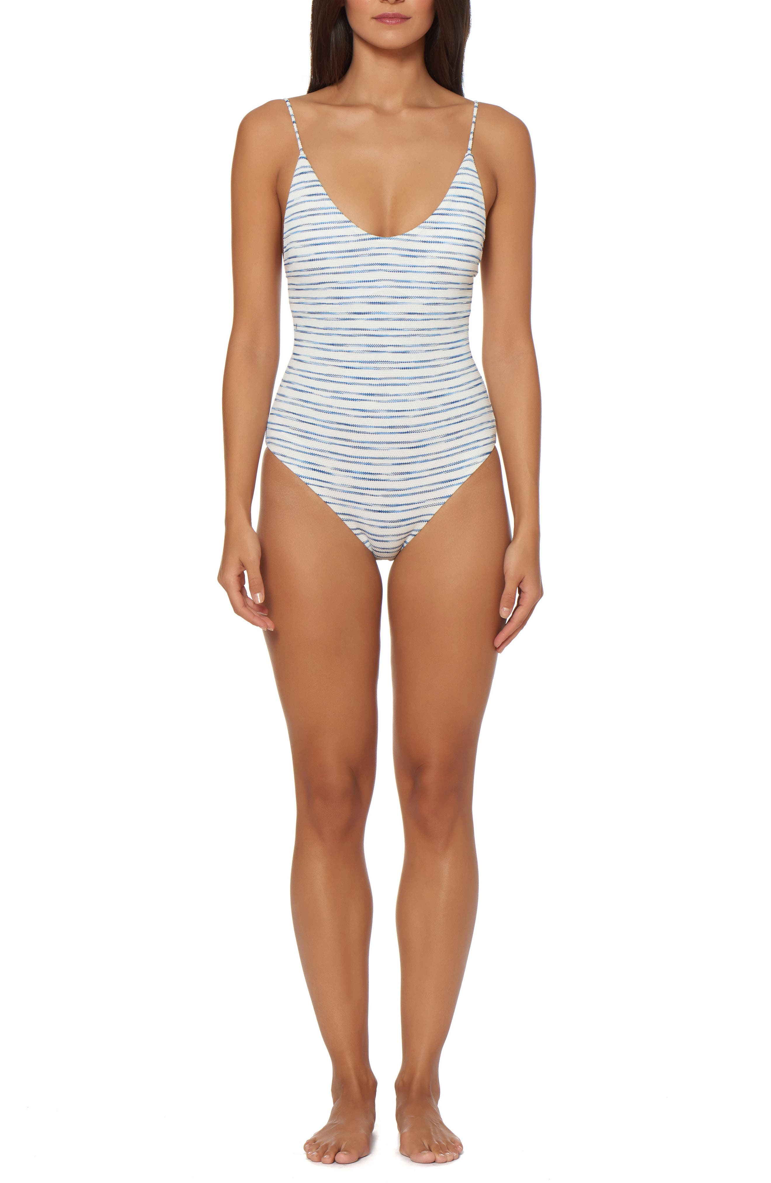Lace-Up One-Piece Swimsuit,                         Main,                         color, White