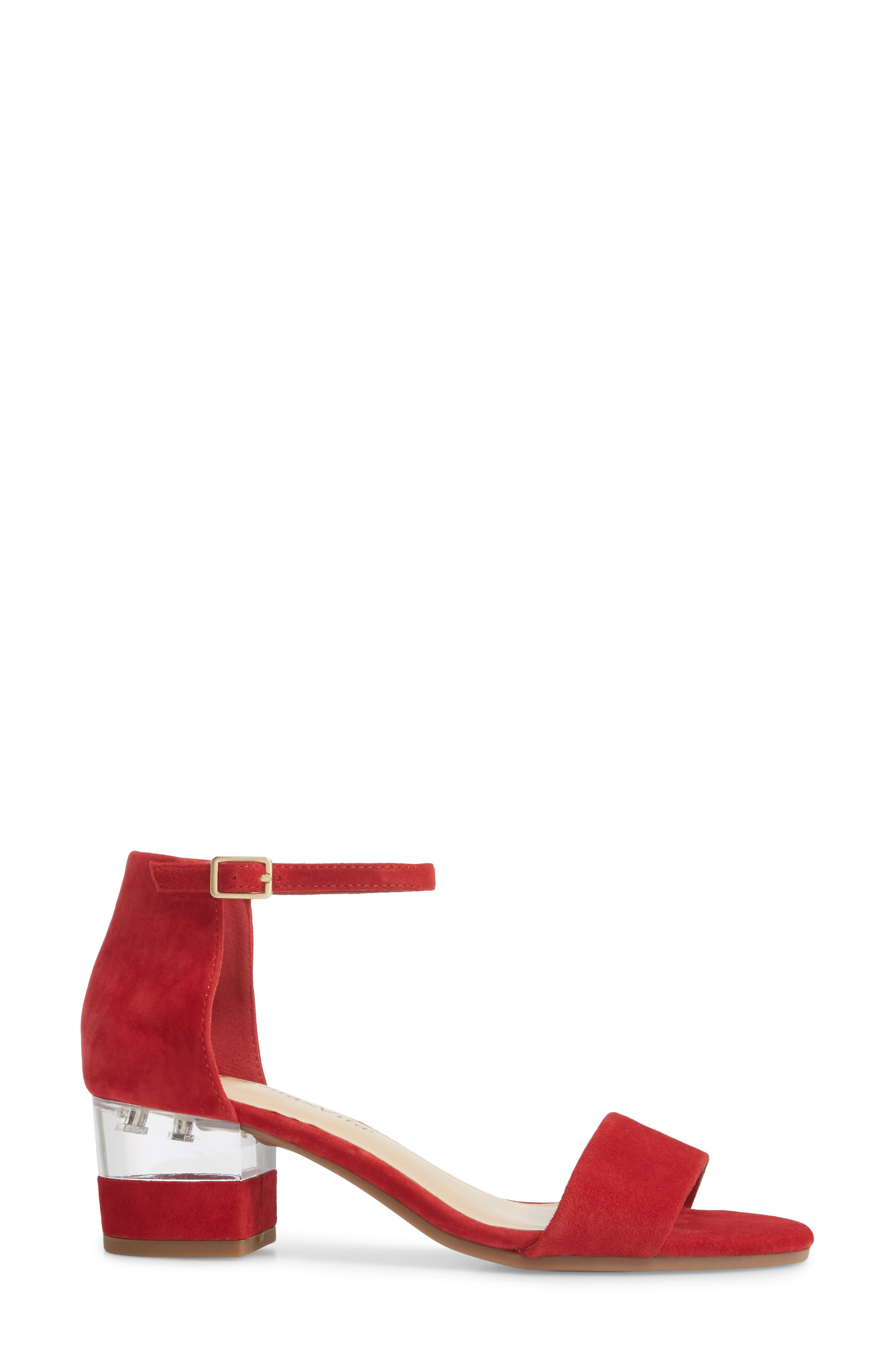 Fitz Block Heel Sandal,                             Alternate thumbnail 3, color,                             Red Suede