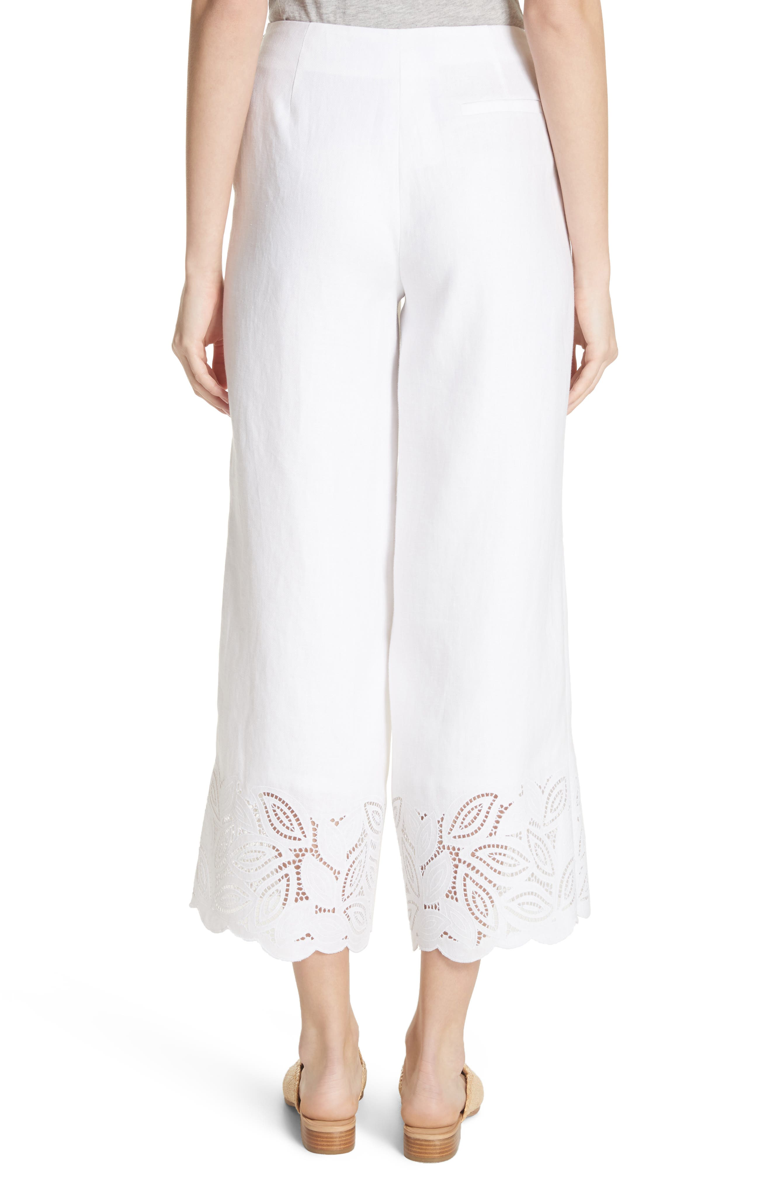 Morton Embroidered Pants,                             Alternate thumbnail 2, color,                             White