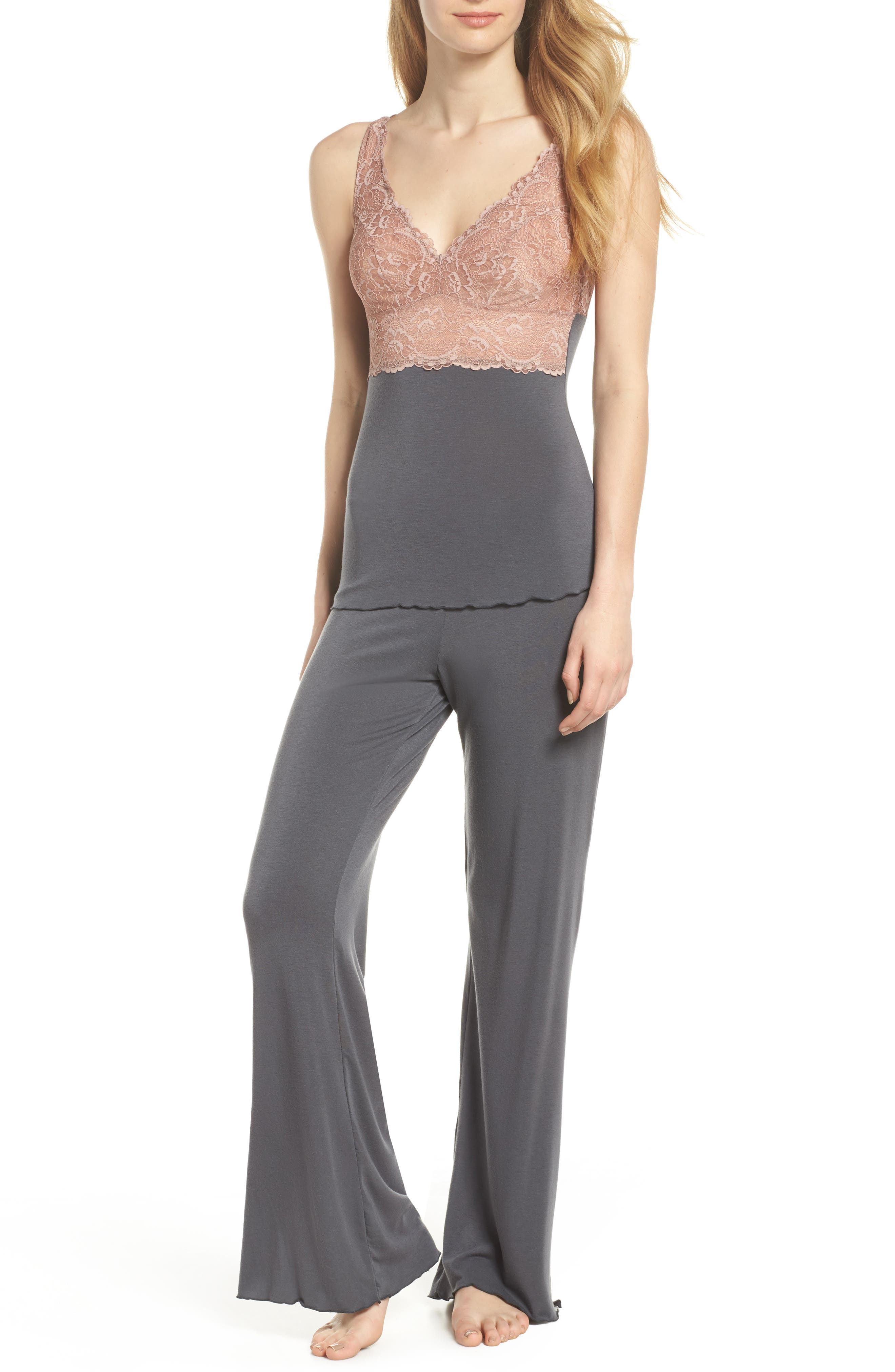 Lace Trim Pants,                             Alternate thumbnail 5, color,                             Slate With Java Lace