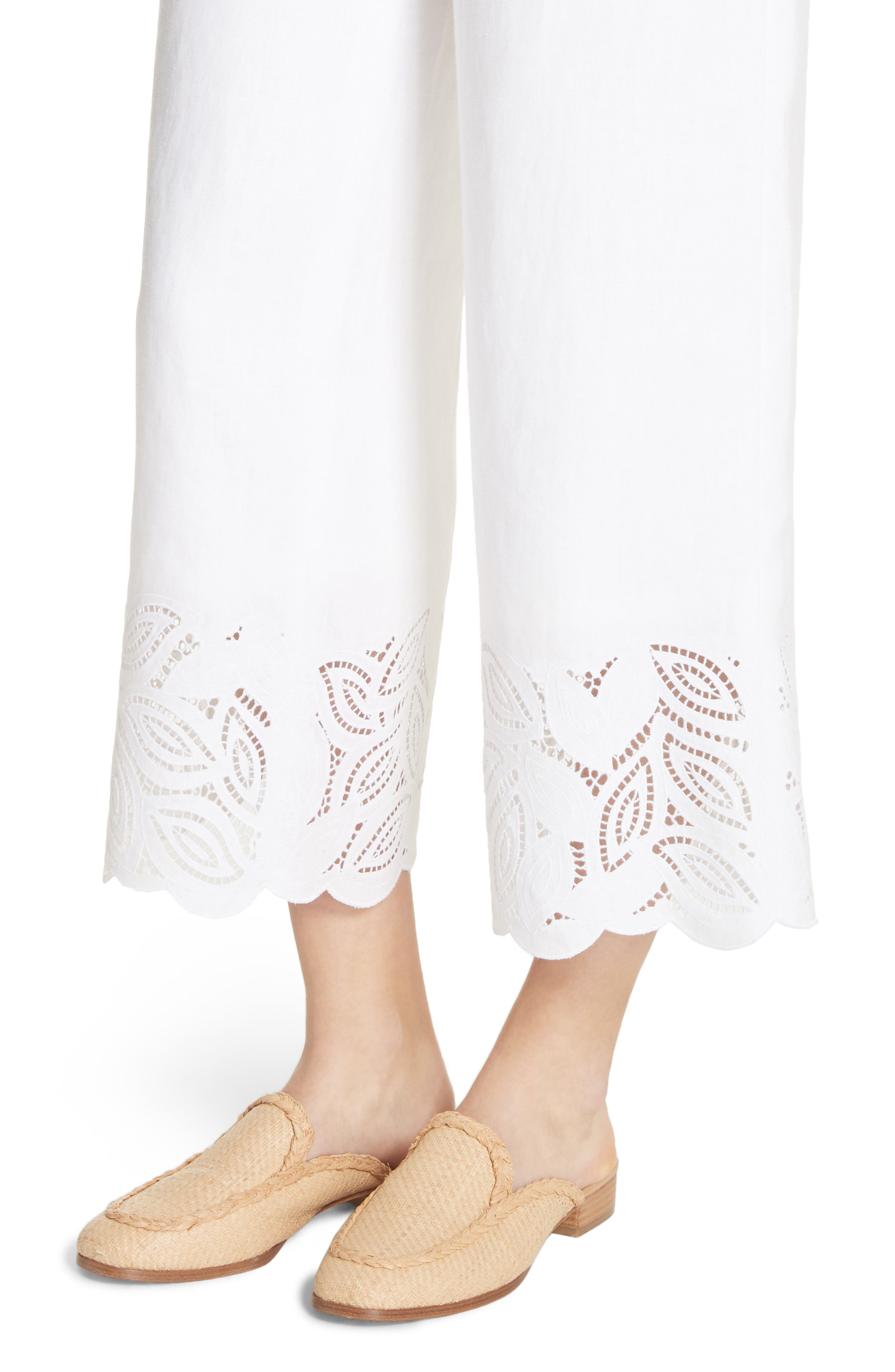 Morton Embroidered Pants,                             Alternate thumbnail 4, color,                             White