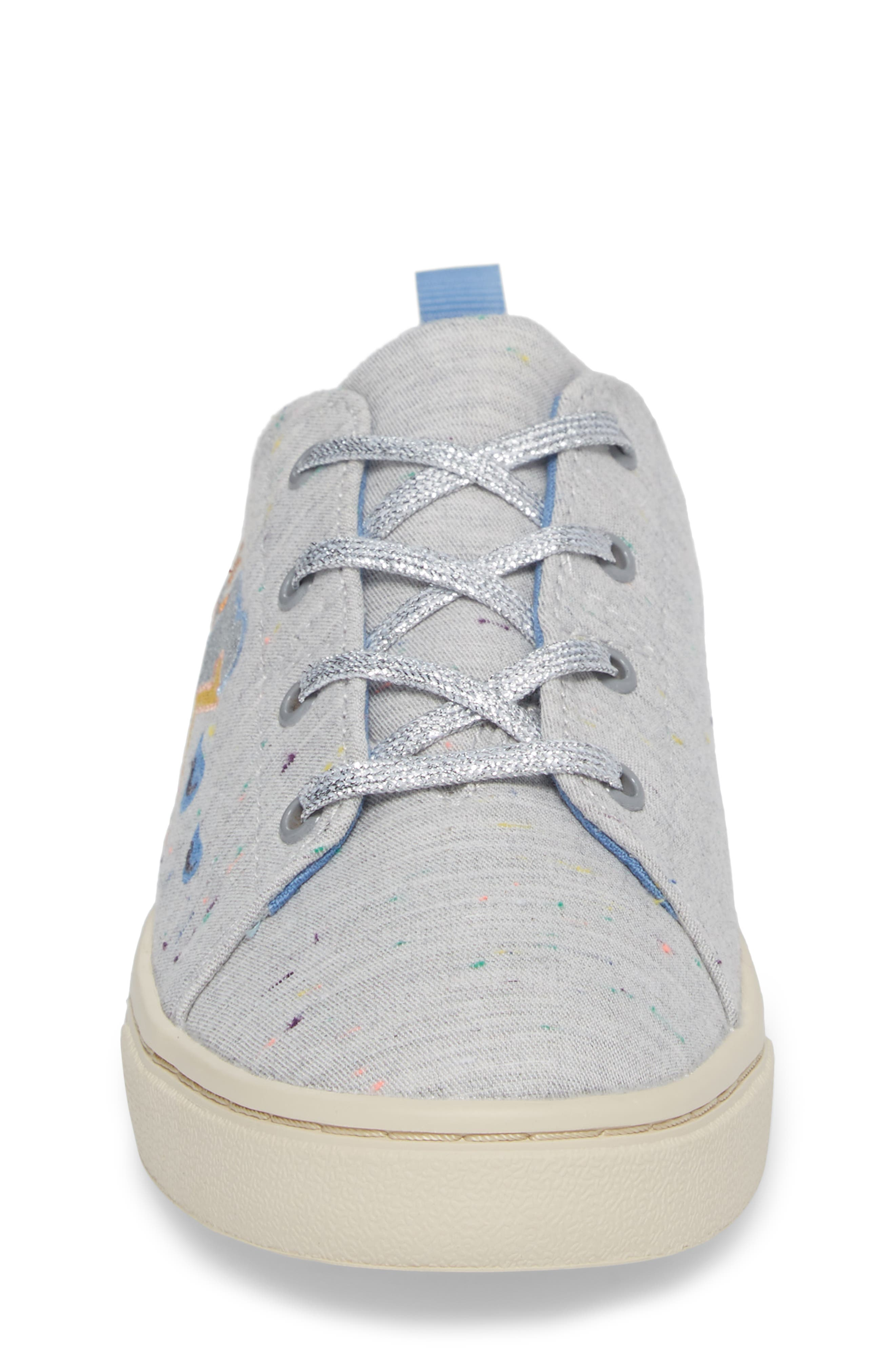 Lenny Embroidered Sneaker,                             Alternate thumbnail 4, color,                             Grey Multi Drizzly Weather