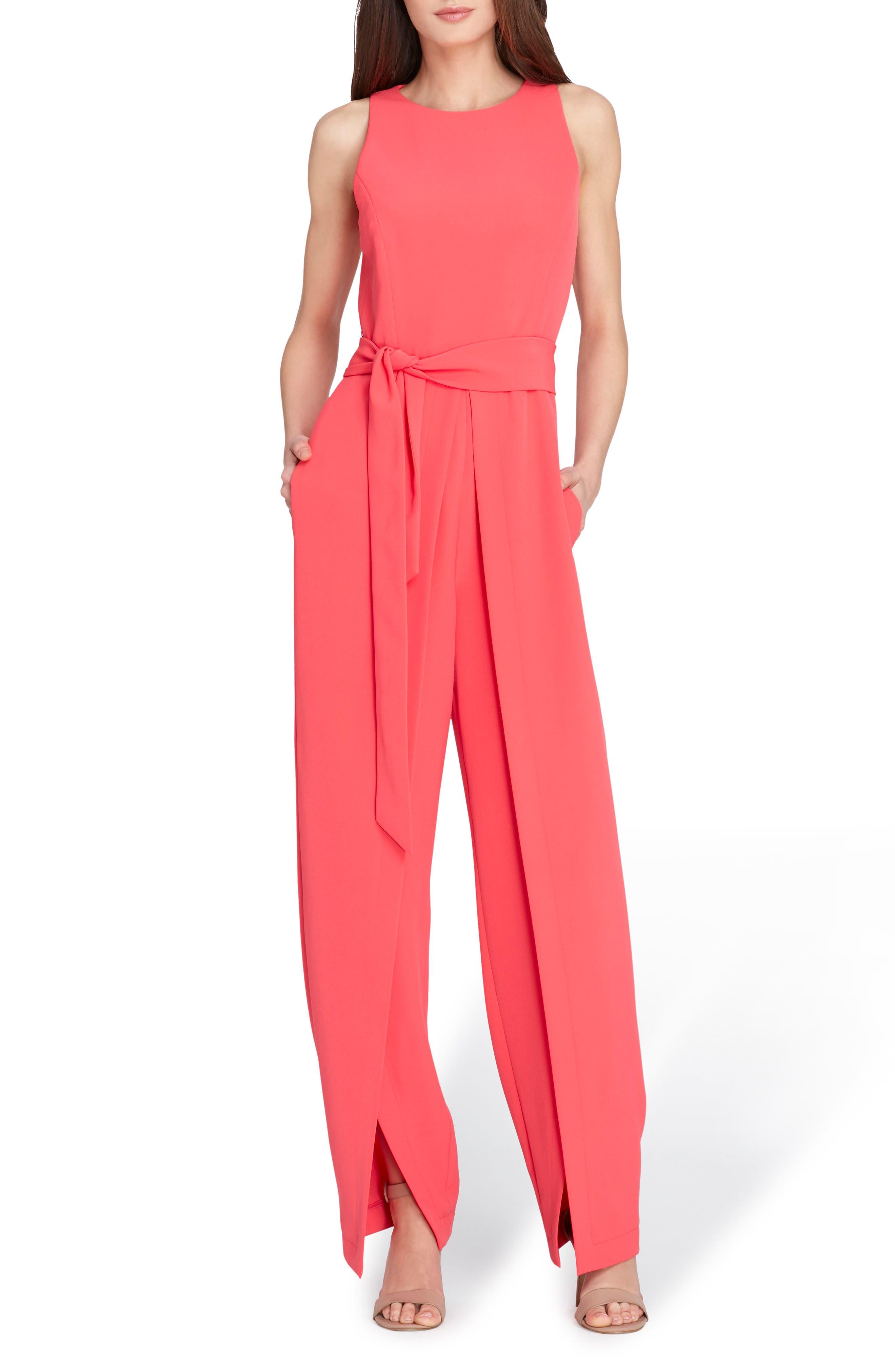 Belted Split Leg Jumpsuit,                             Main thumbnail 1, color,                             Watermelon