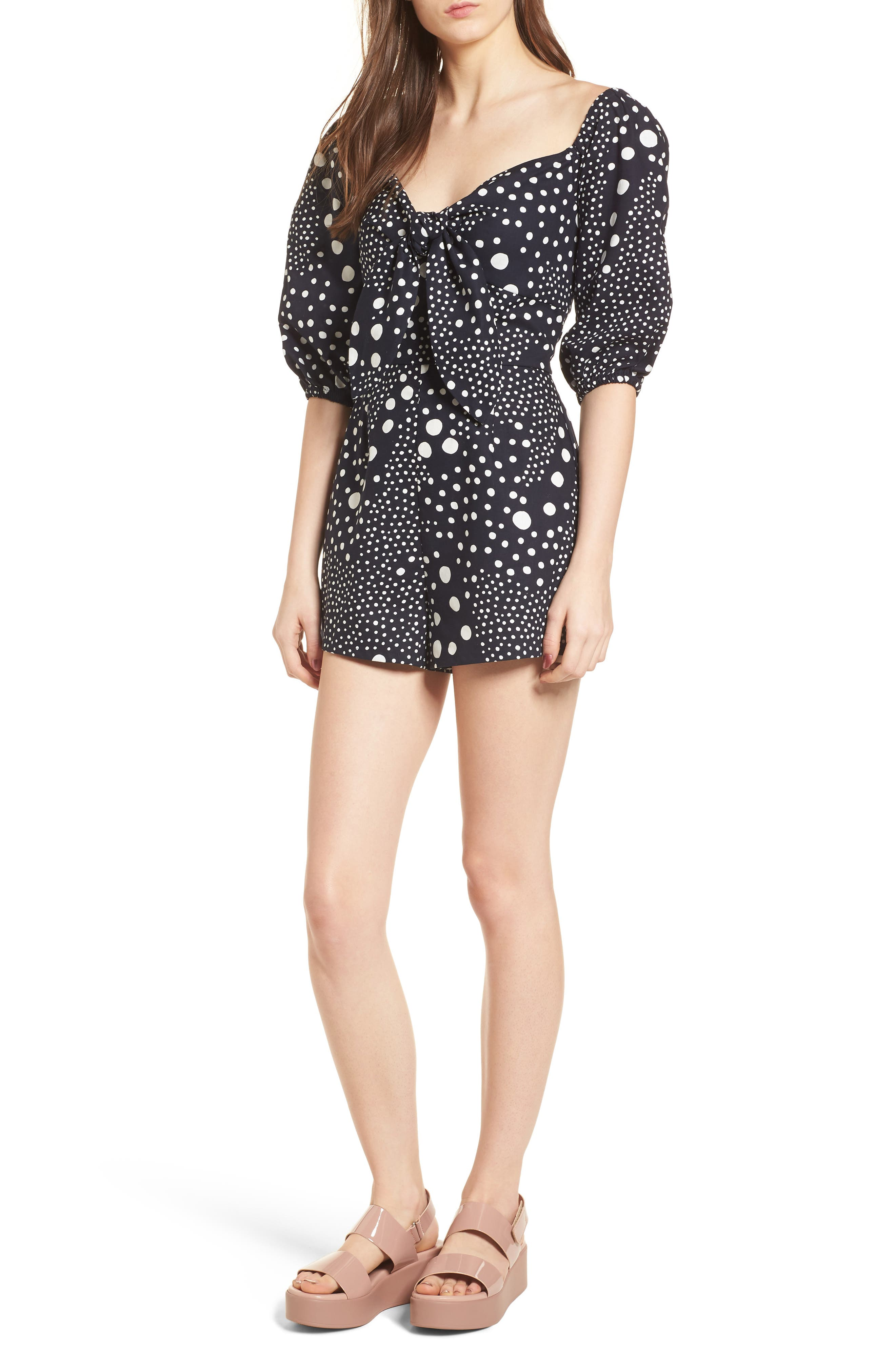 Lagoon Puff Sleeve Romper,                         Main,                         color, Navy Pebble