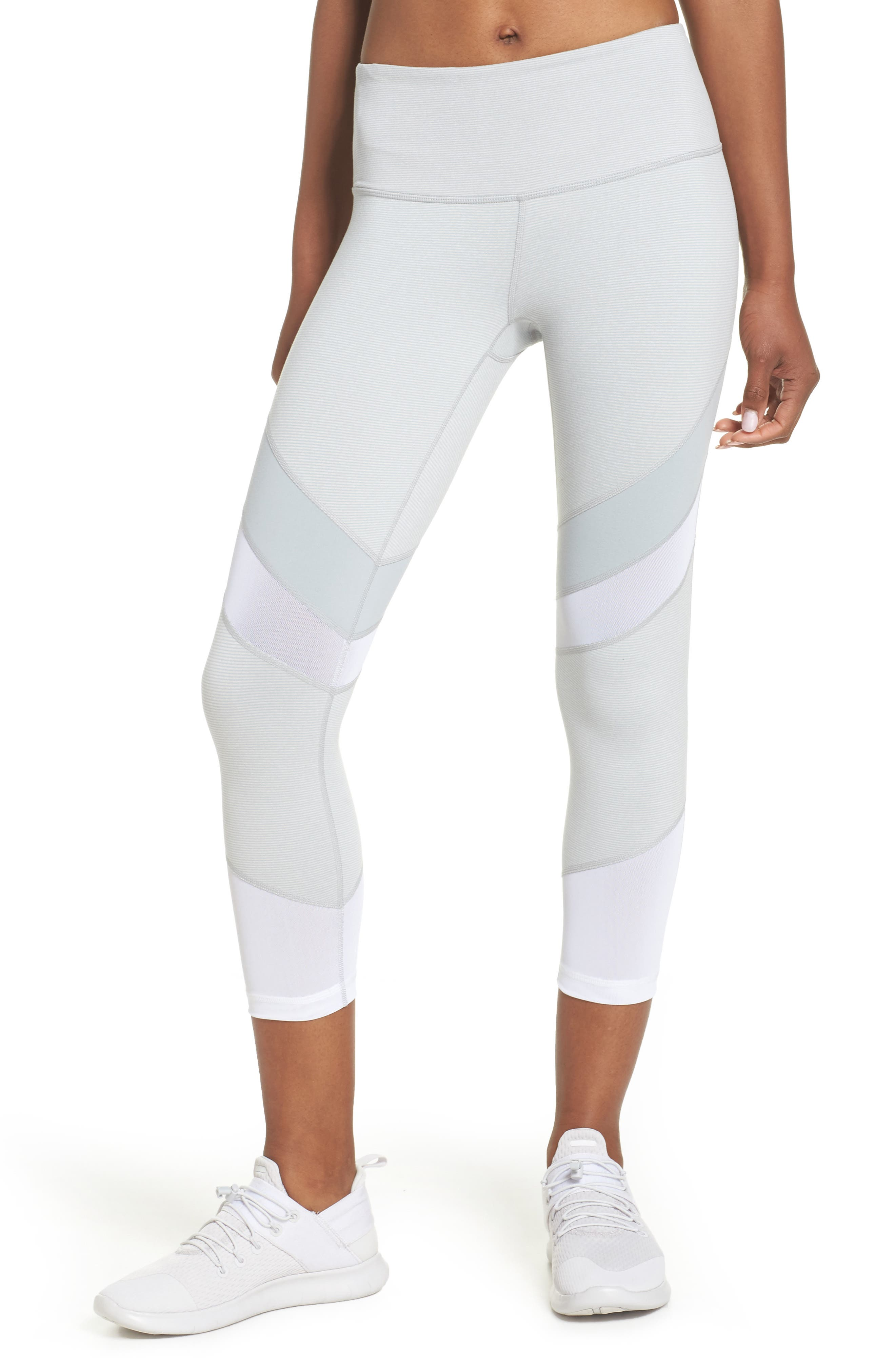 Live In Electric Mix Power Mesh Crop Leggings,                         Main,                         color, Grey Wolf Terra