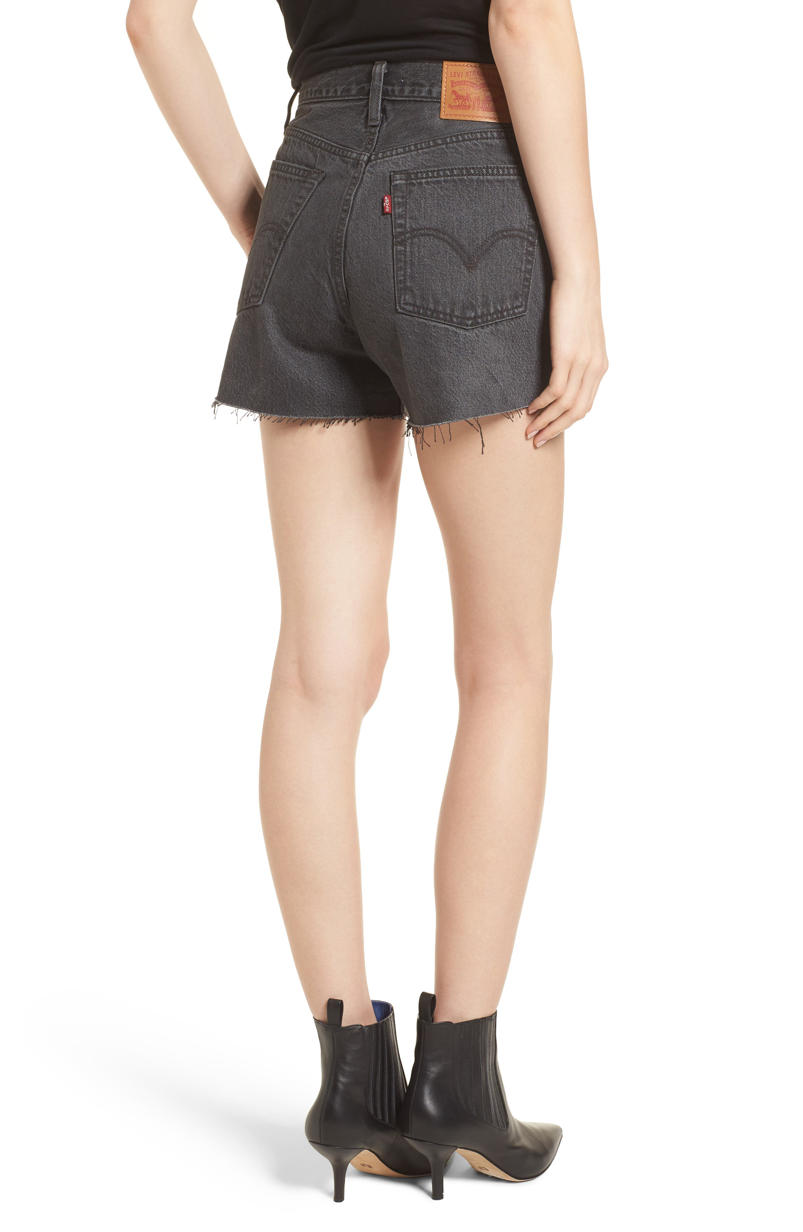 Wedgie High Waist Cutoff Denim Shorts,                             Alternate thumbnail 2, color,                             Bling Bling