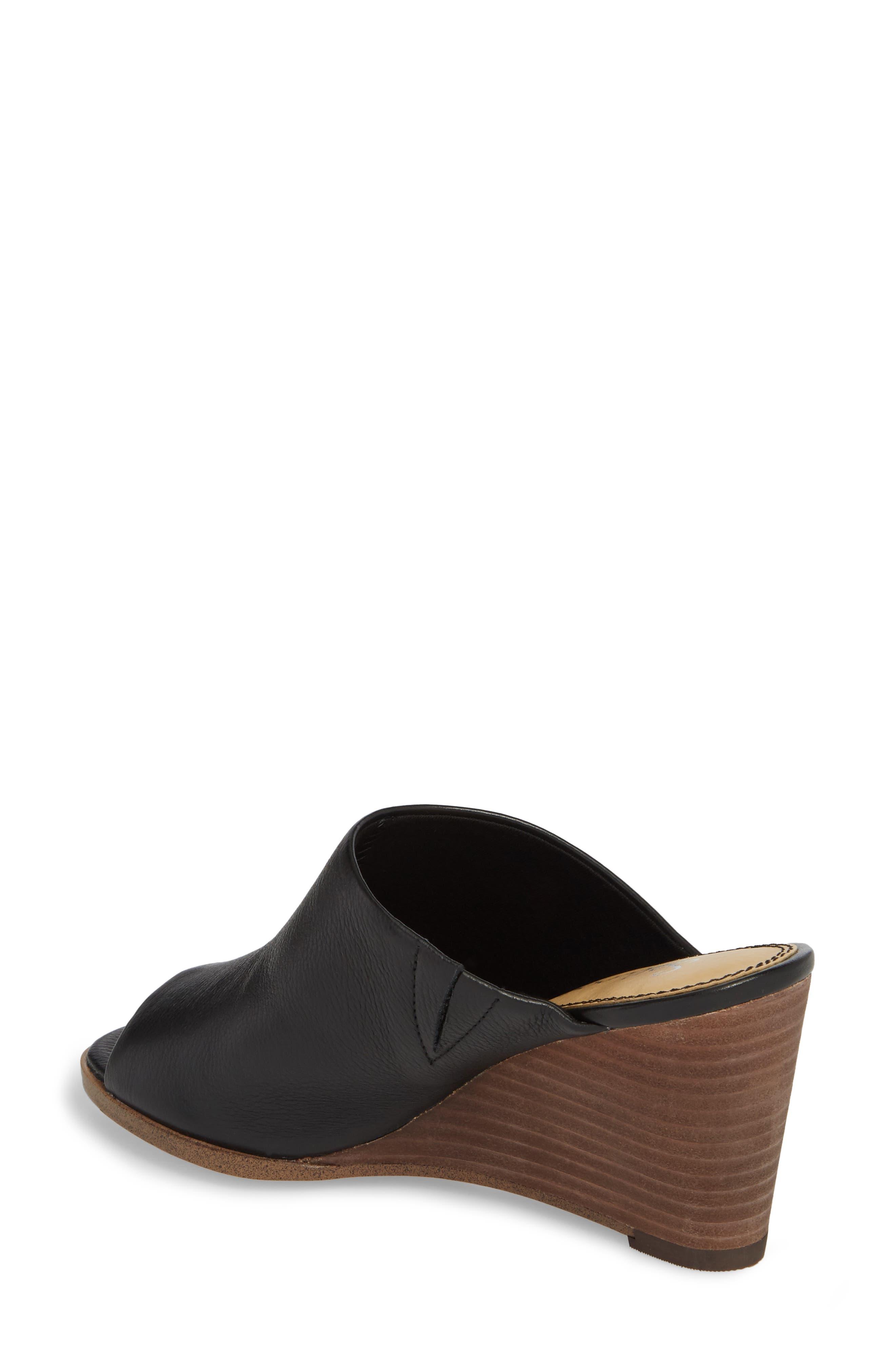 Fenwick Wedge Sandal,                             Alternate thumbnail 2, color,                             Black Leather