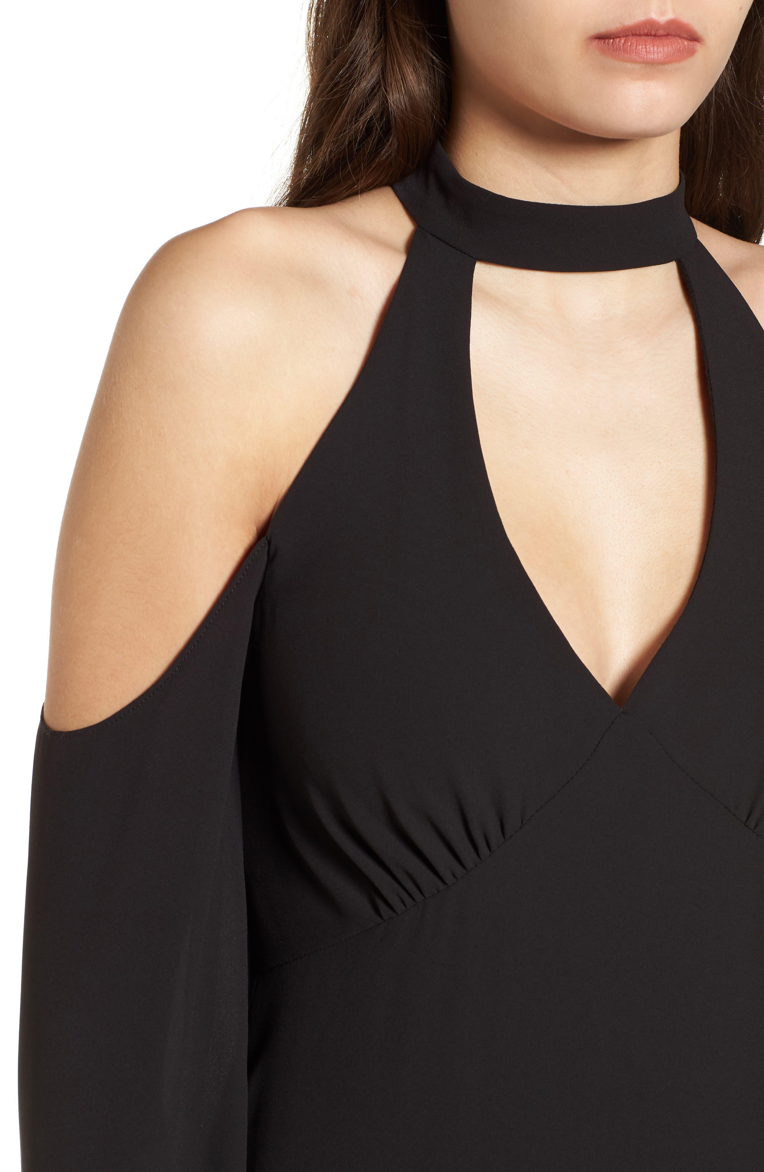 Daikon Cold Shoulder Dress,                             Alternate thumbnail 4, color,                             Black