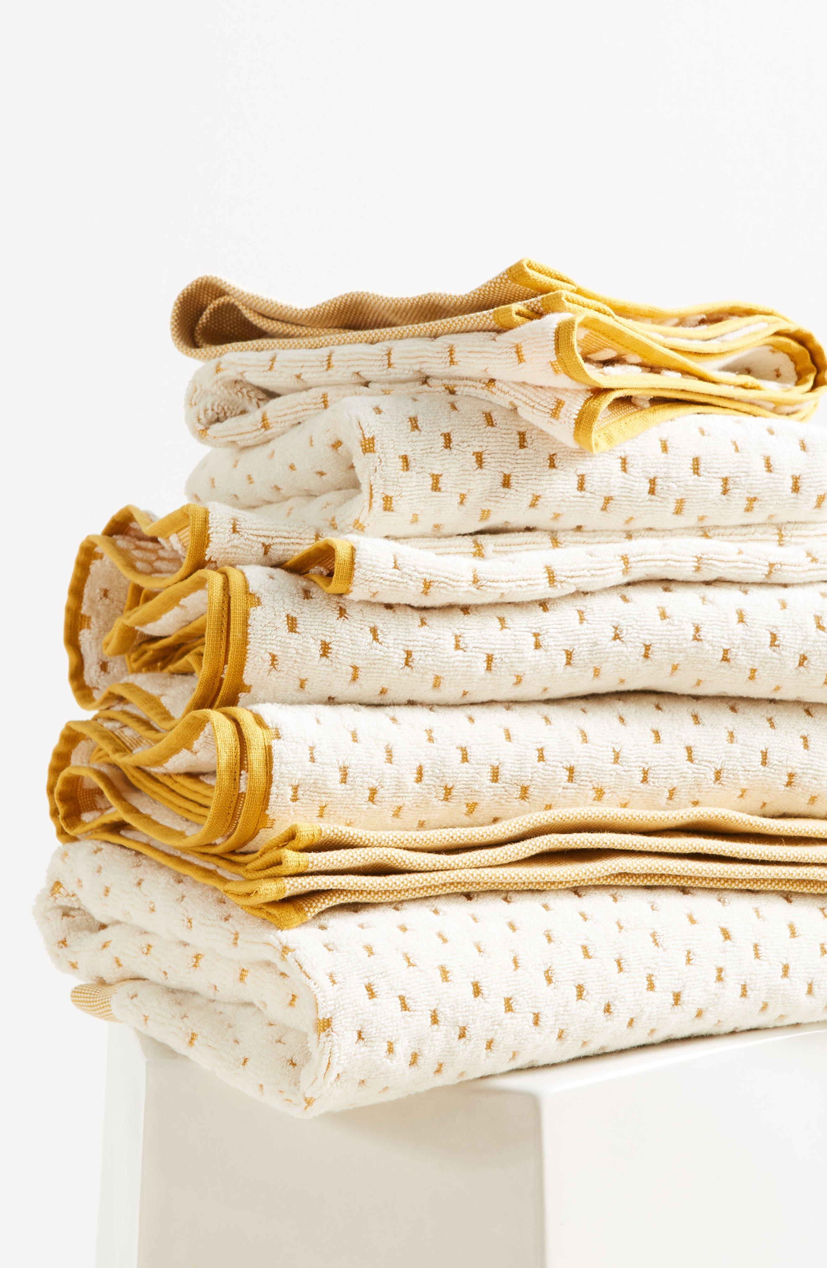 Dot Jacquard Bath Towel,                             Alternate thumbnail 3, color,                             Ochre
