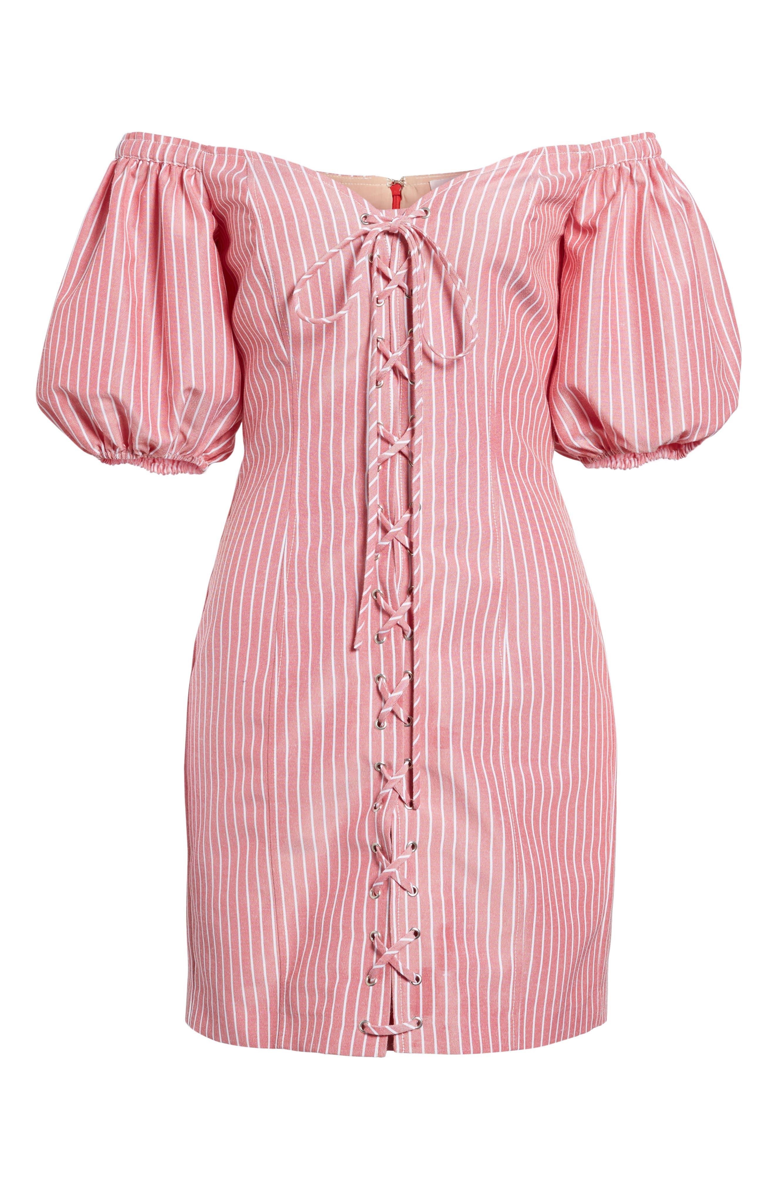 Frankie Lace-Up Minidress,                             Alternate thumbnail 6, color,                             Red Stripe